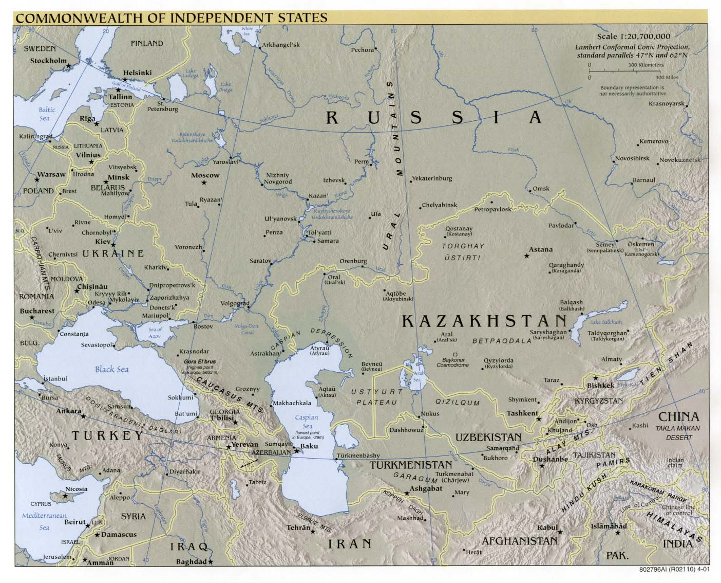 Mapa físico de la Comunidad de Estados Independientes 2001