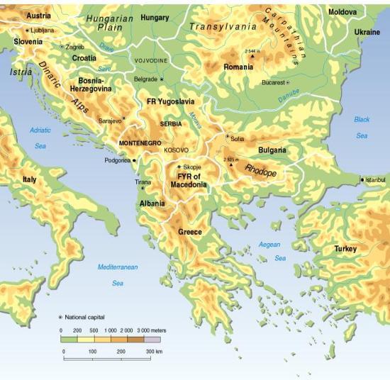 Mapa físico-político de los Balcanes