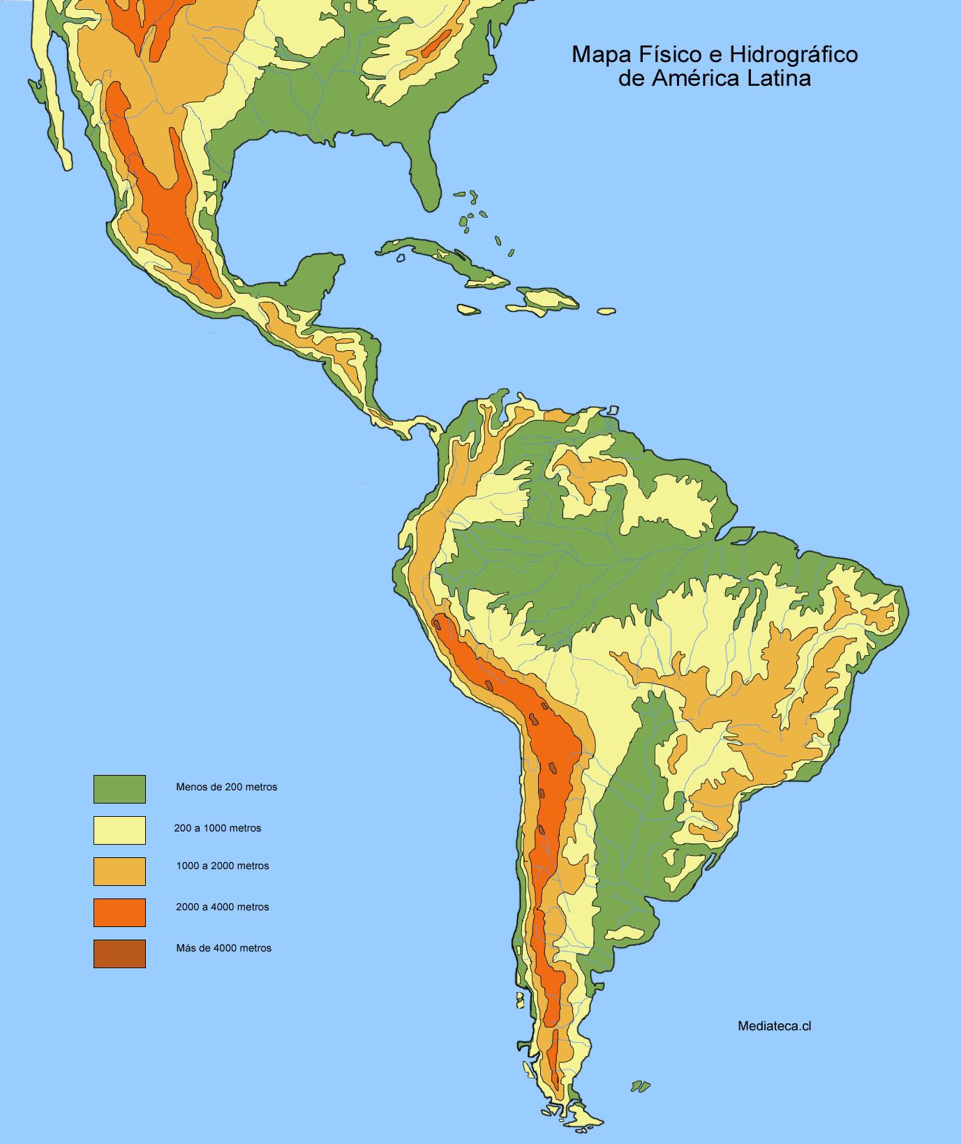 Mapa físico y hidrográfico de América Latina