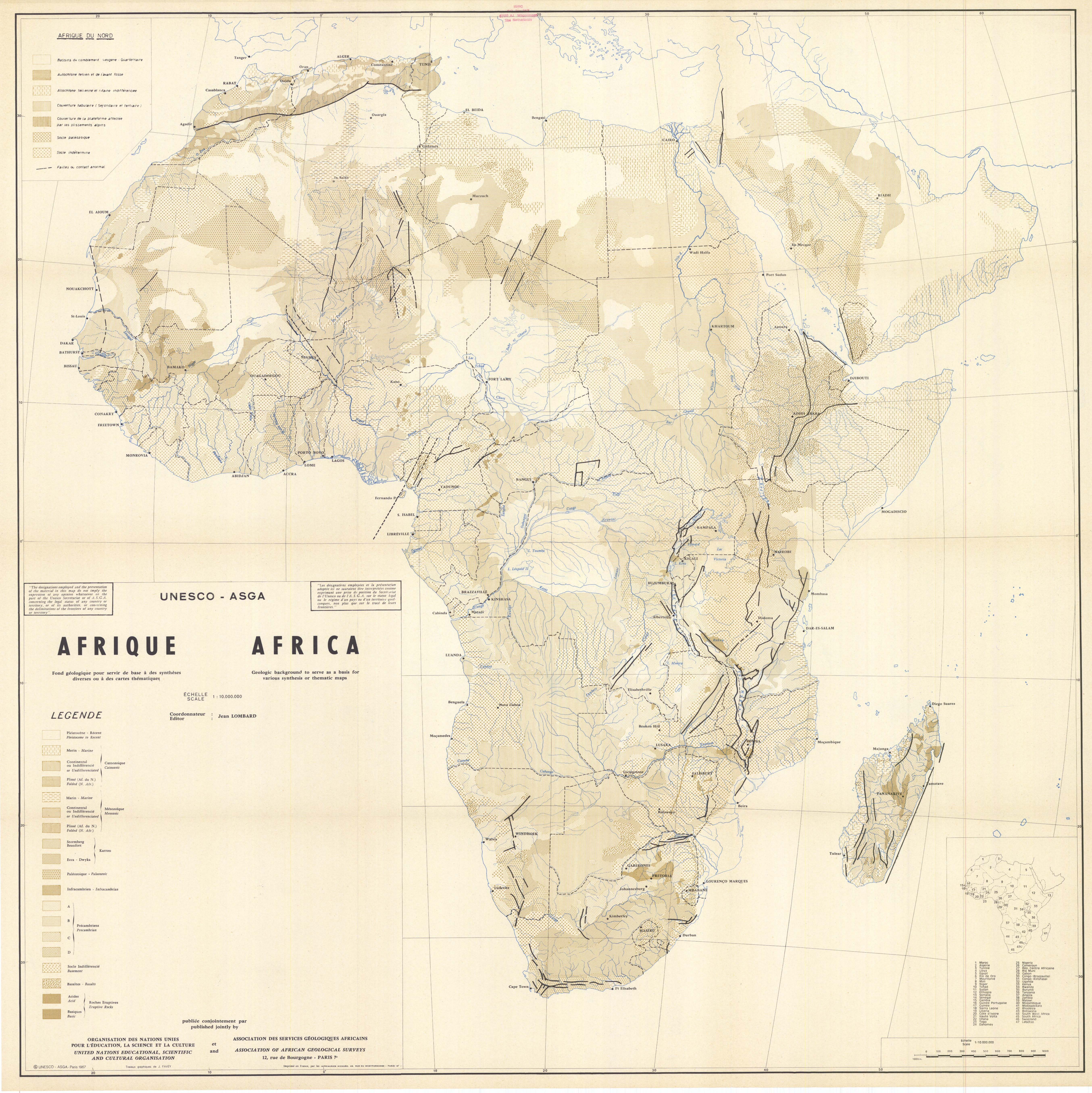 Africa geological map 1967