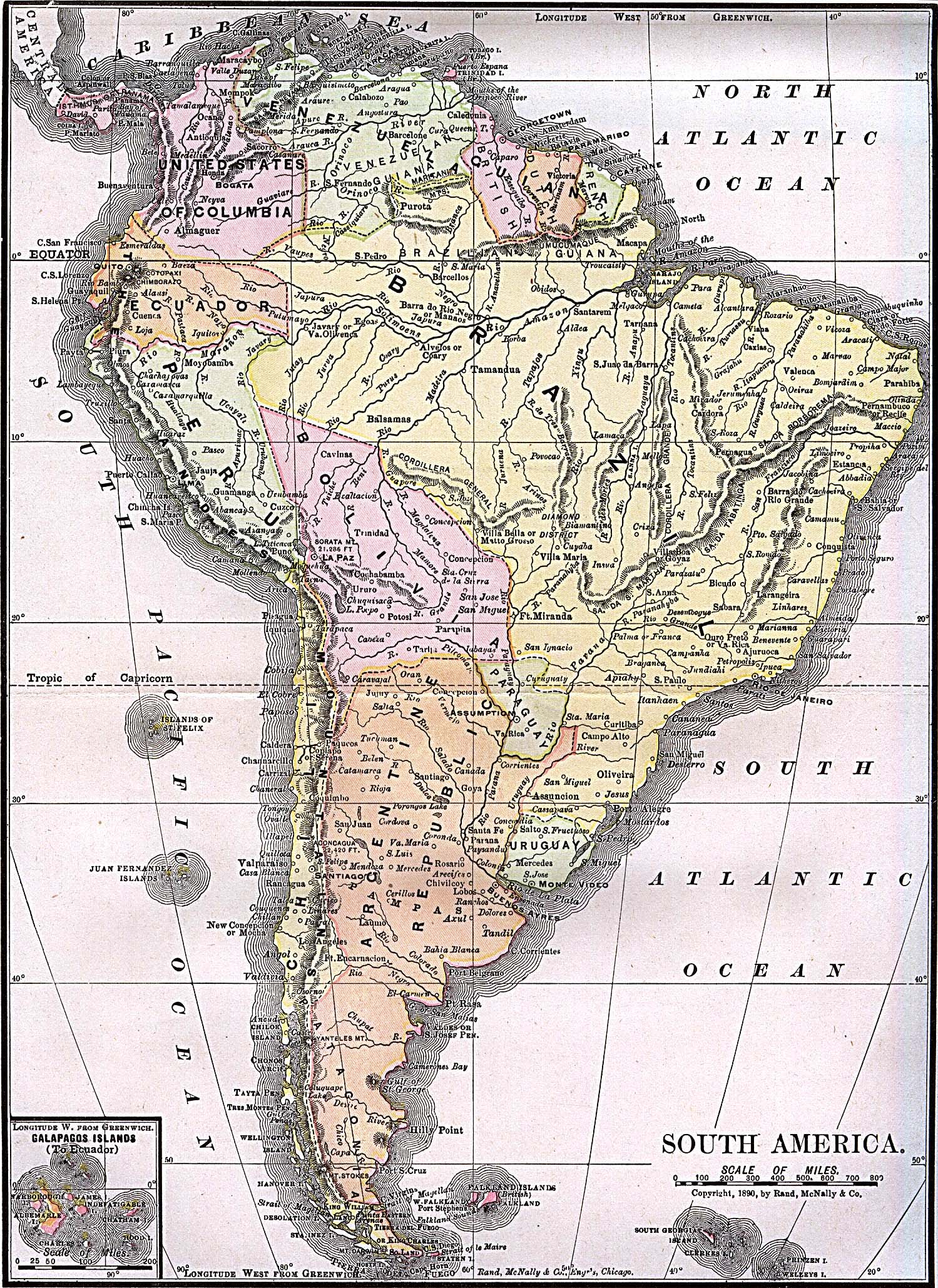 South America historical map 1892