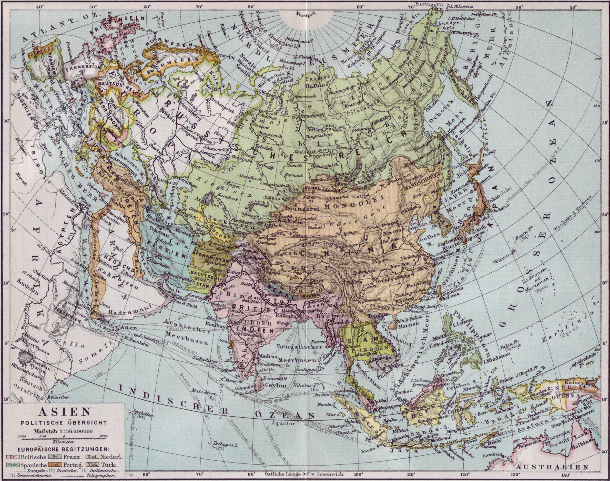 Historical map of Asia 1890