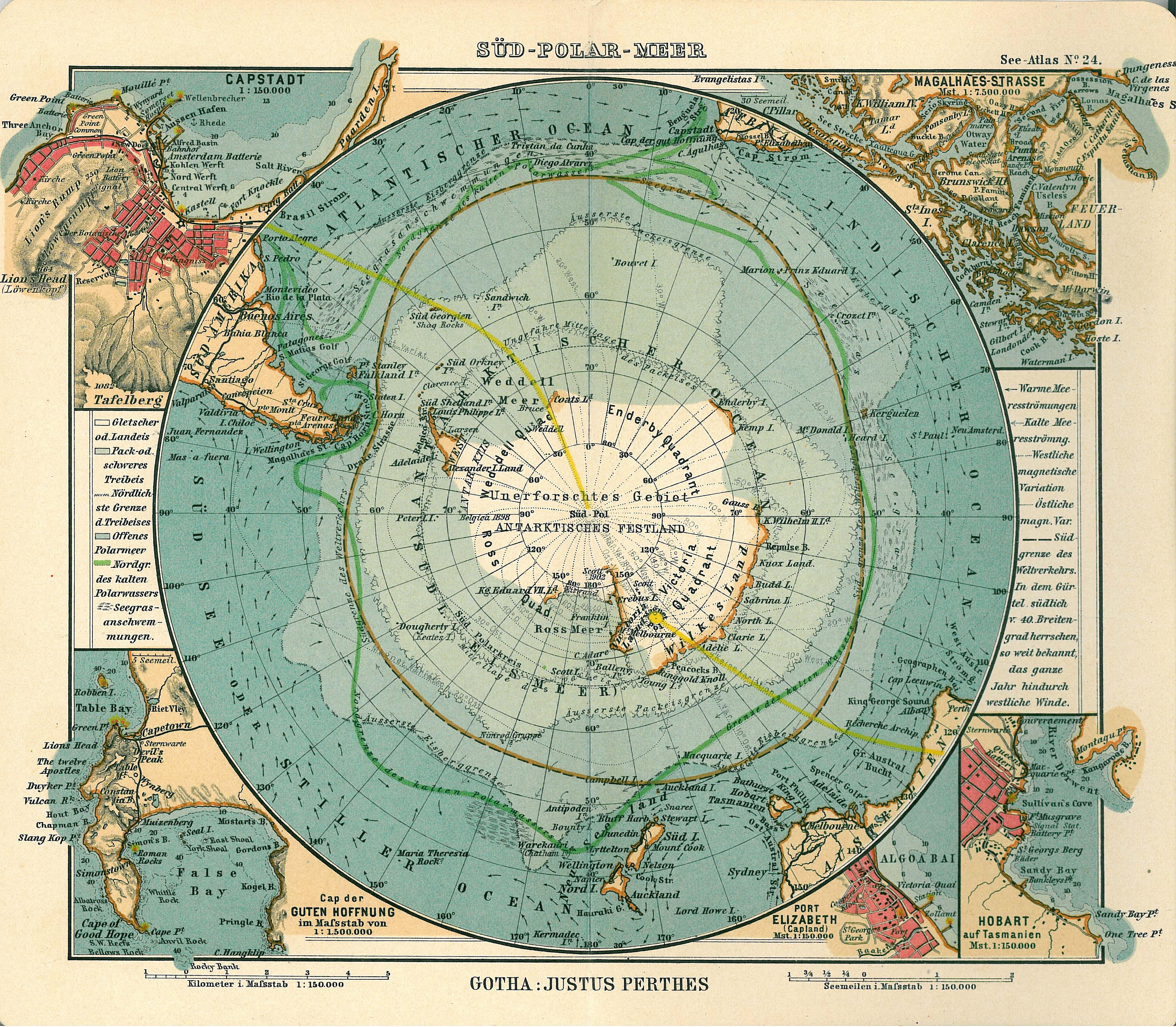 Mapa histórico de la Antártida 1906