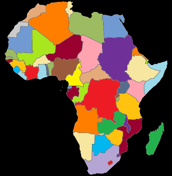 Colored political map of Africa