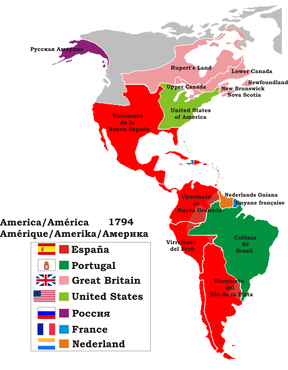 Politic map of America in 1794