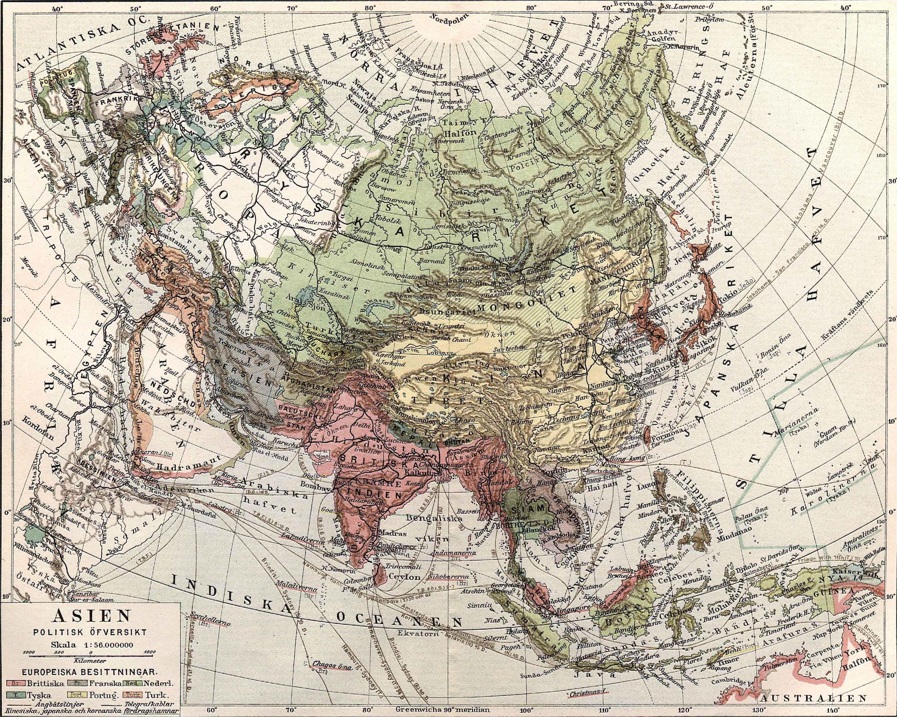 Asia political map 1904