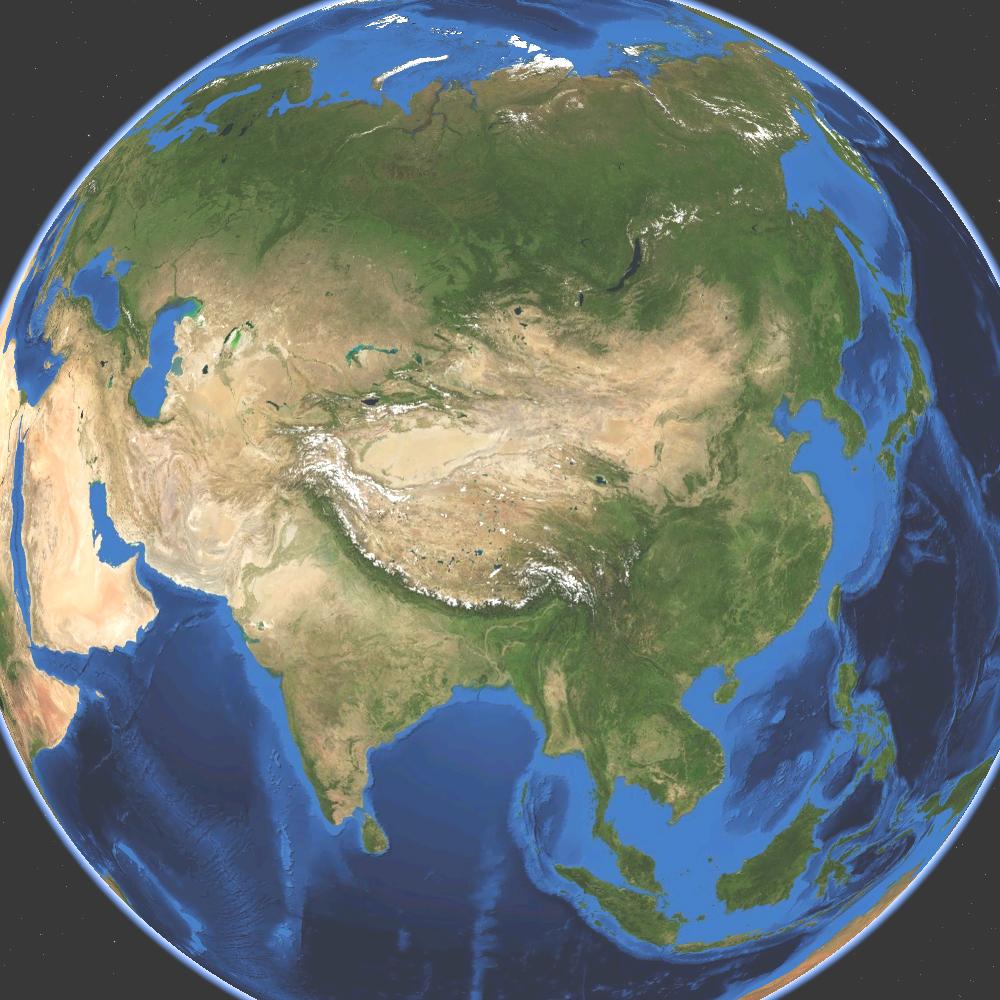 Mapa satelital de Asia