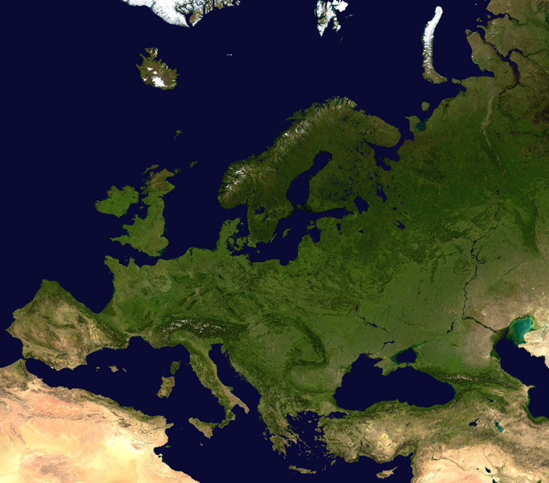 Europe satellite map 2002