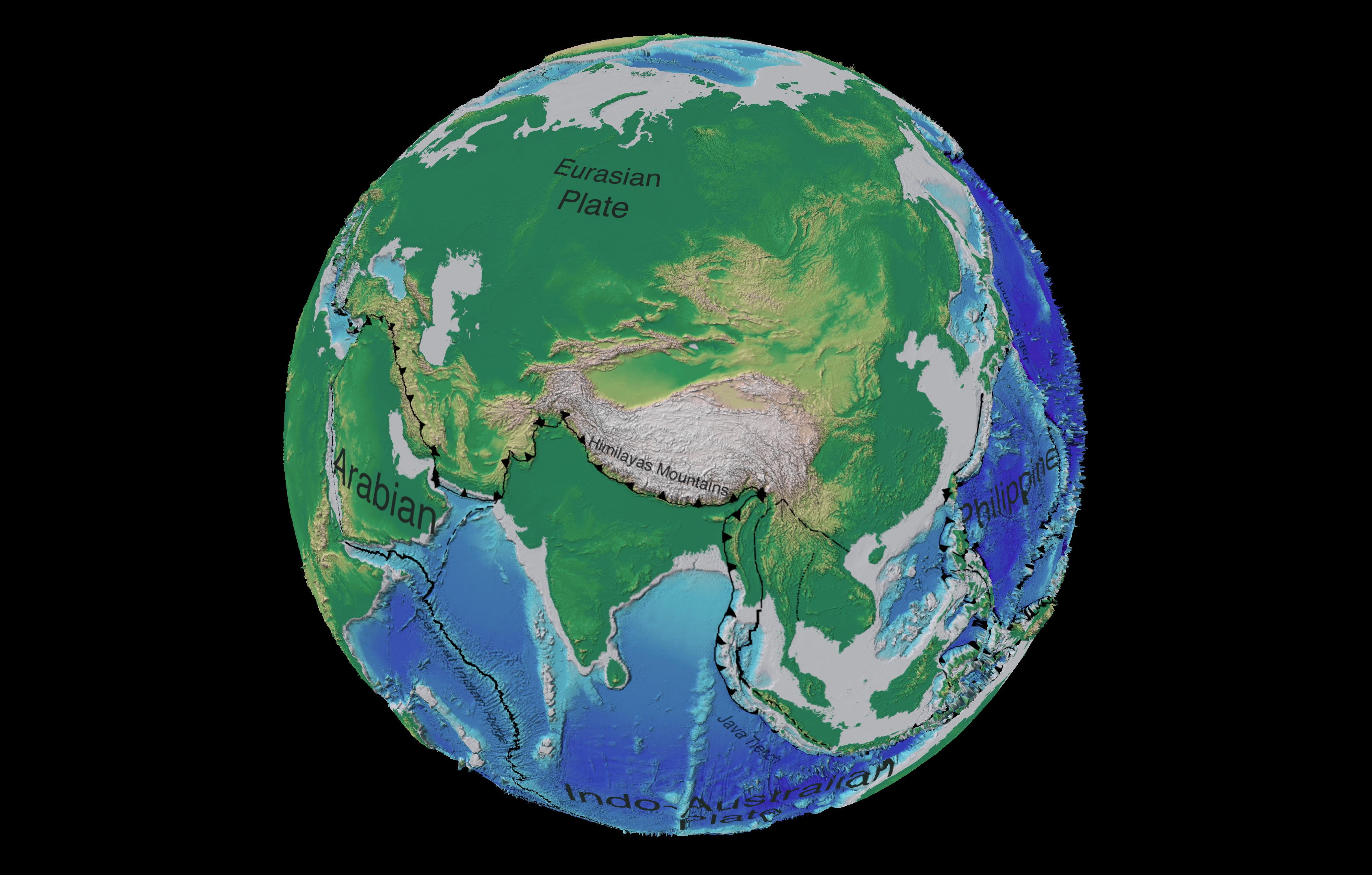 Mapa tectónico y batimétrico de Asia