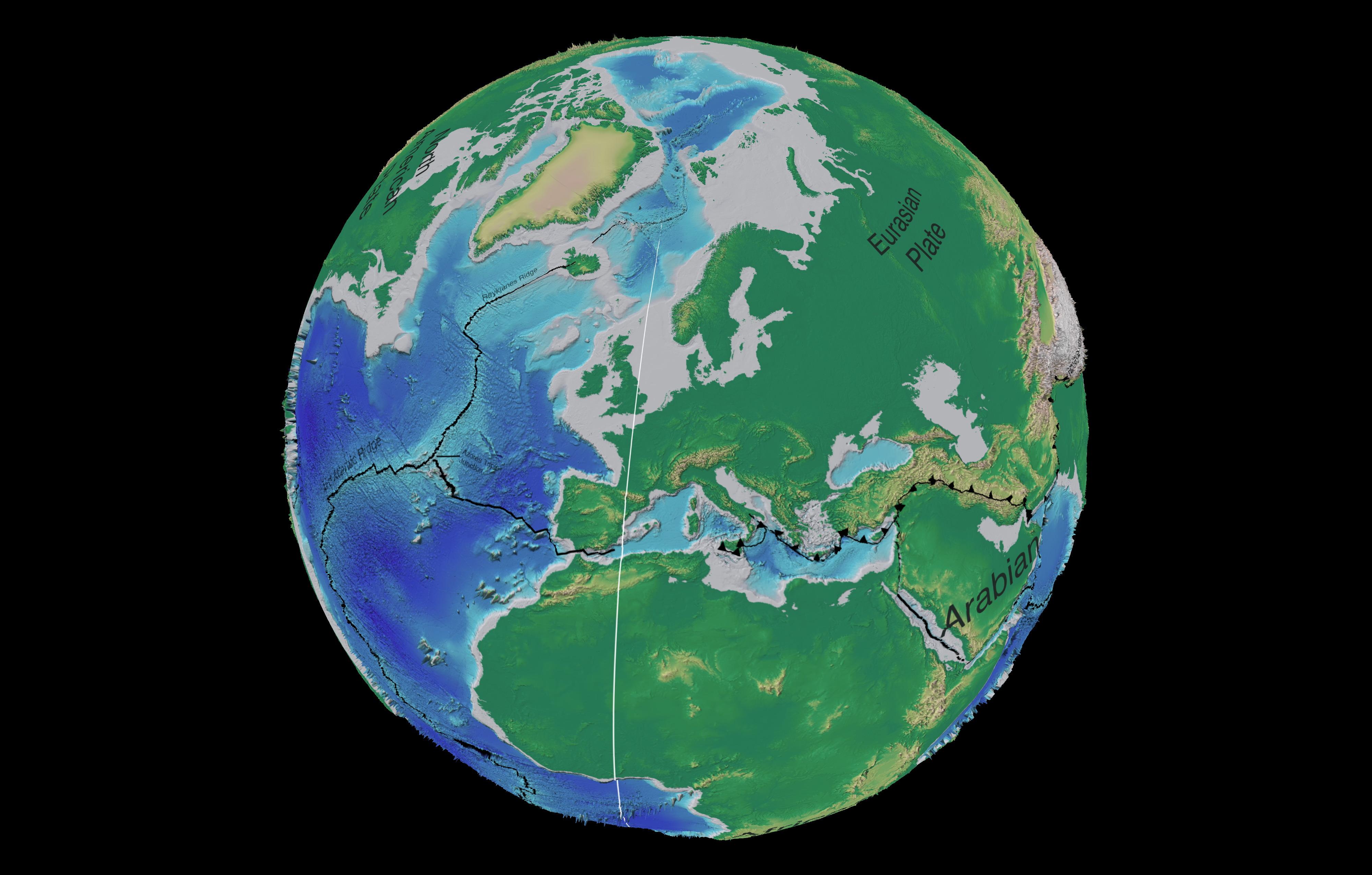 Mapa tectónico y batimétrico de Europa