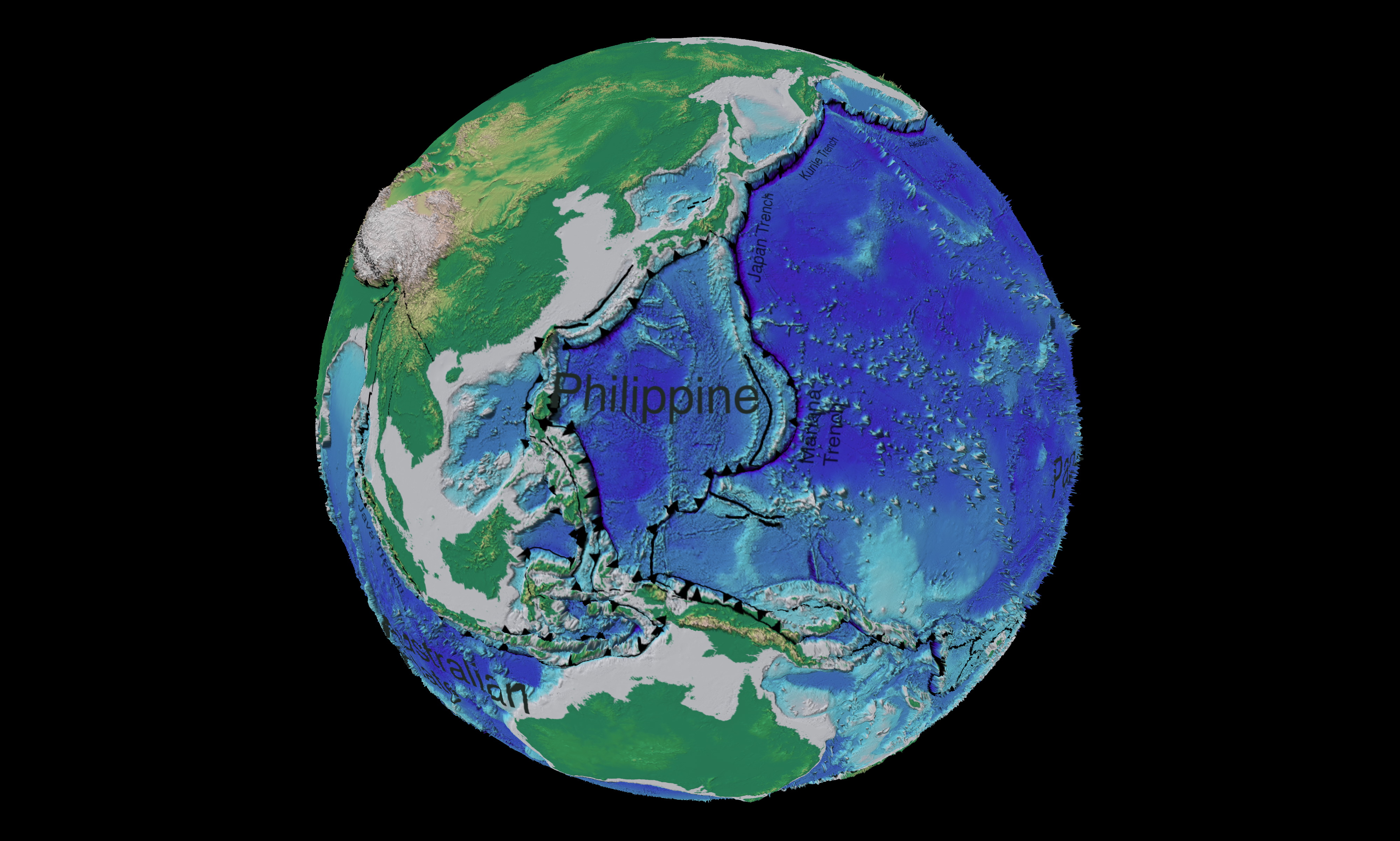 Western Pacific Ocean tectonic and bathymetric map