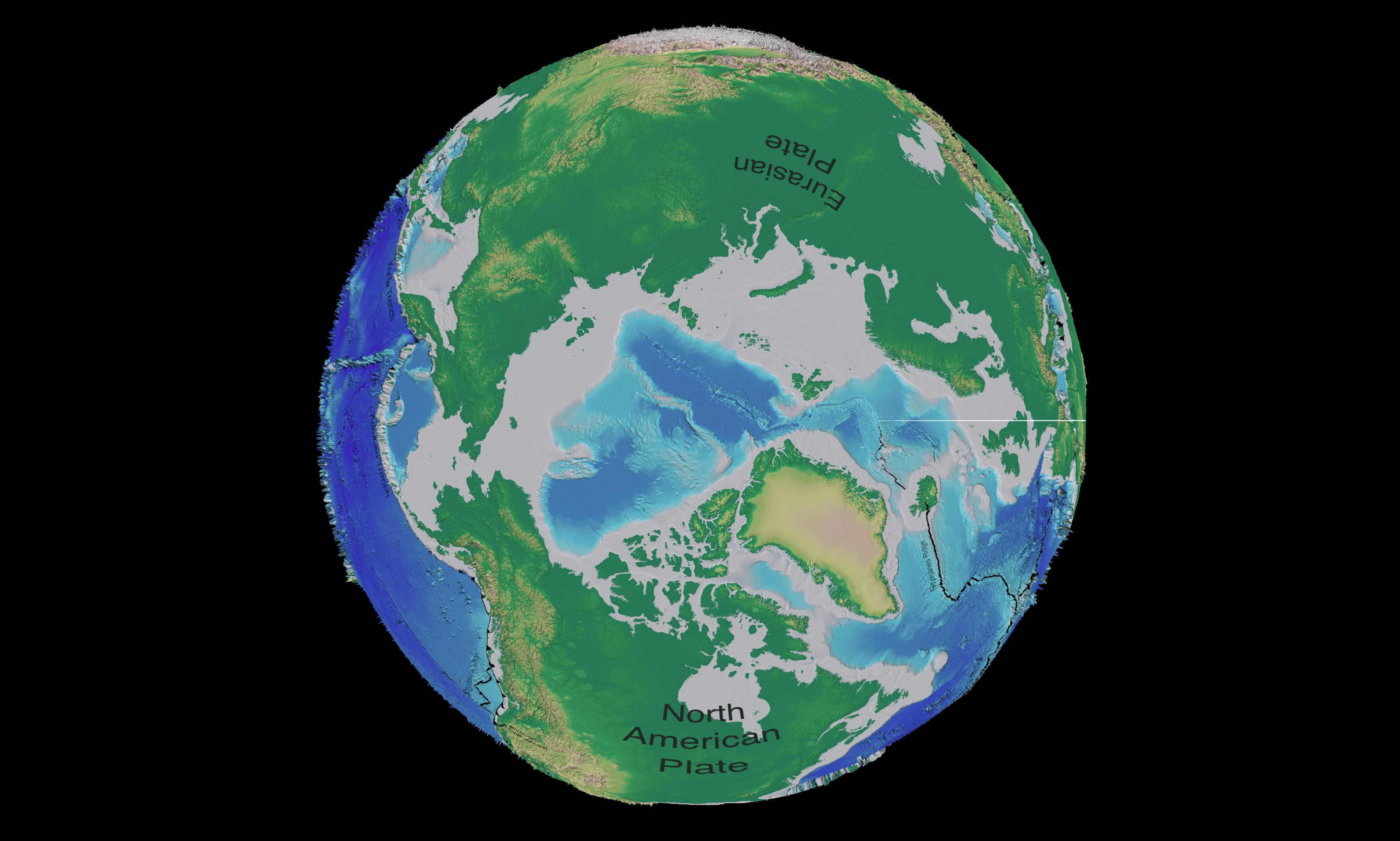 Mapa tectónico y batimétrico del Ártico