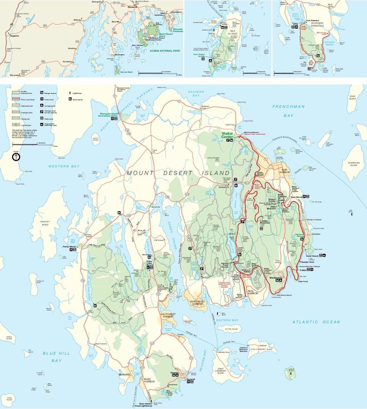 Mapas Detallados del Parque Nacional Acadia, Maine, Estados Unidos