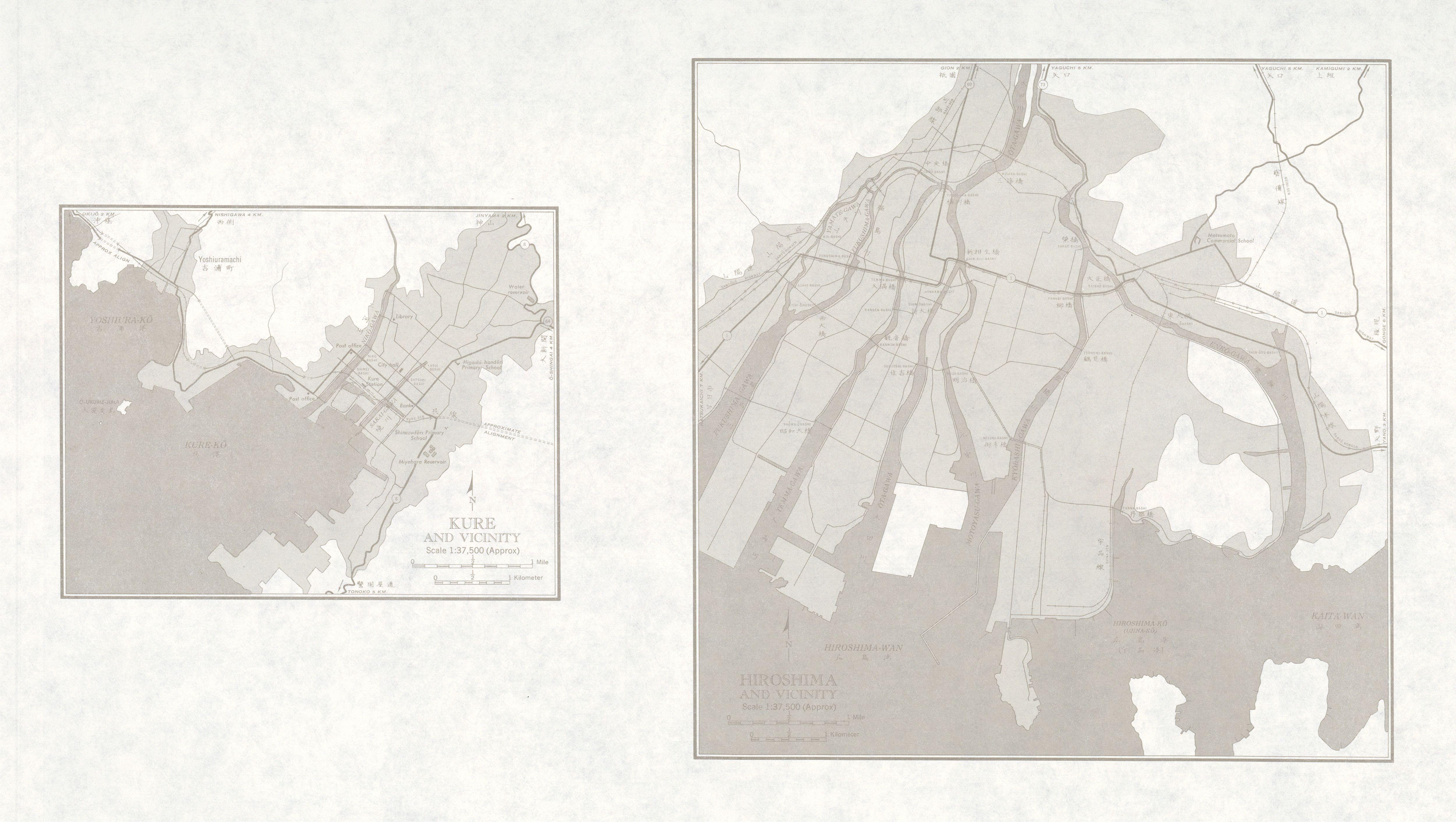 Mapas de Kure, Hiroshima y sus Cercanias, Japón 1954