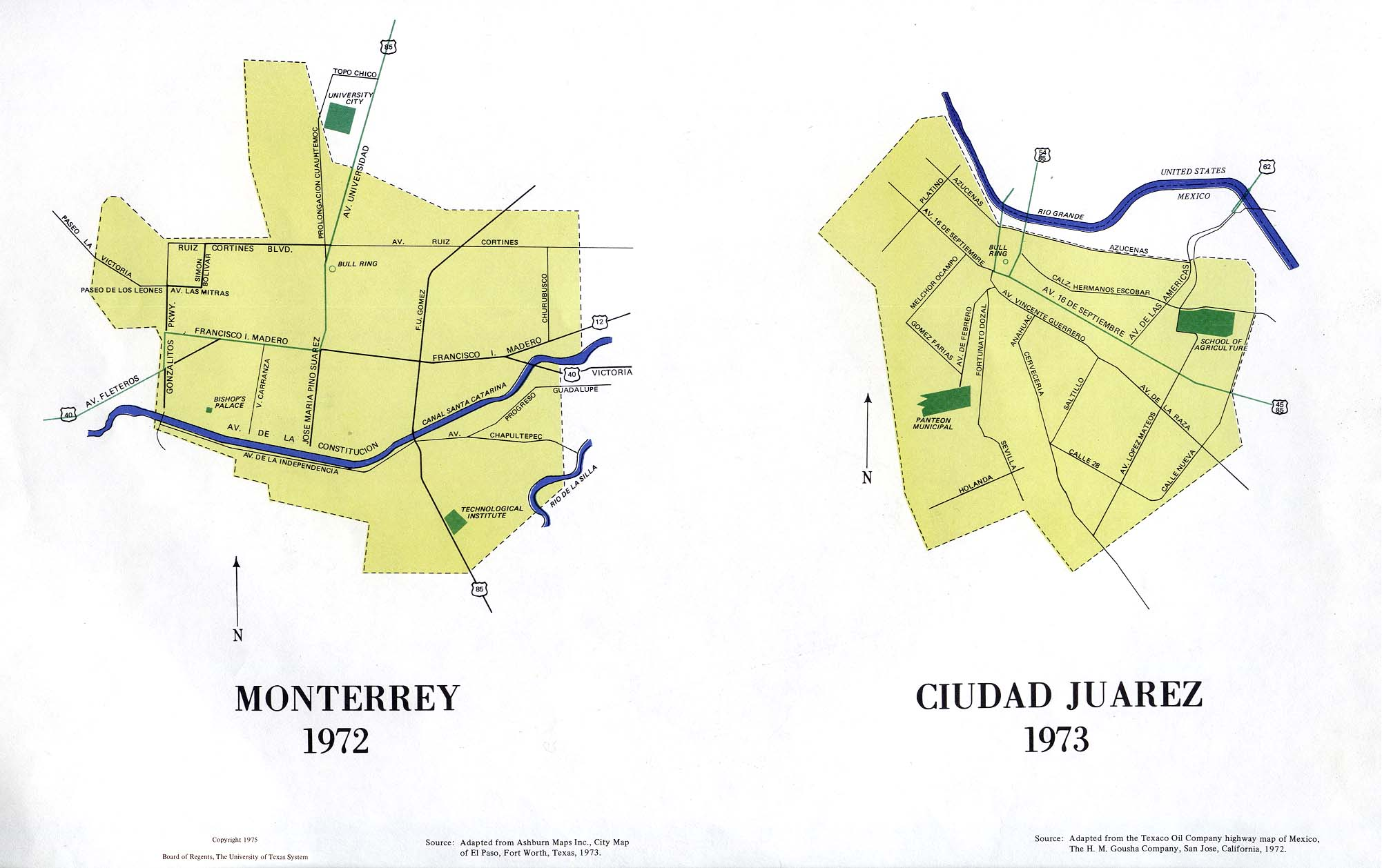 Maps of Monterrey and Ciudad Juarez, Mexico