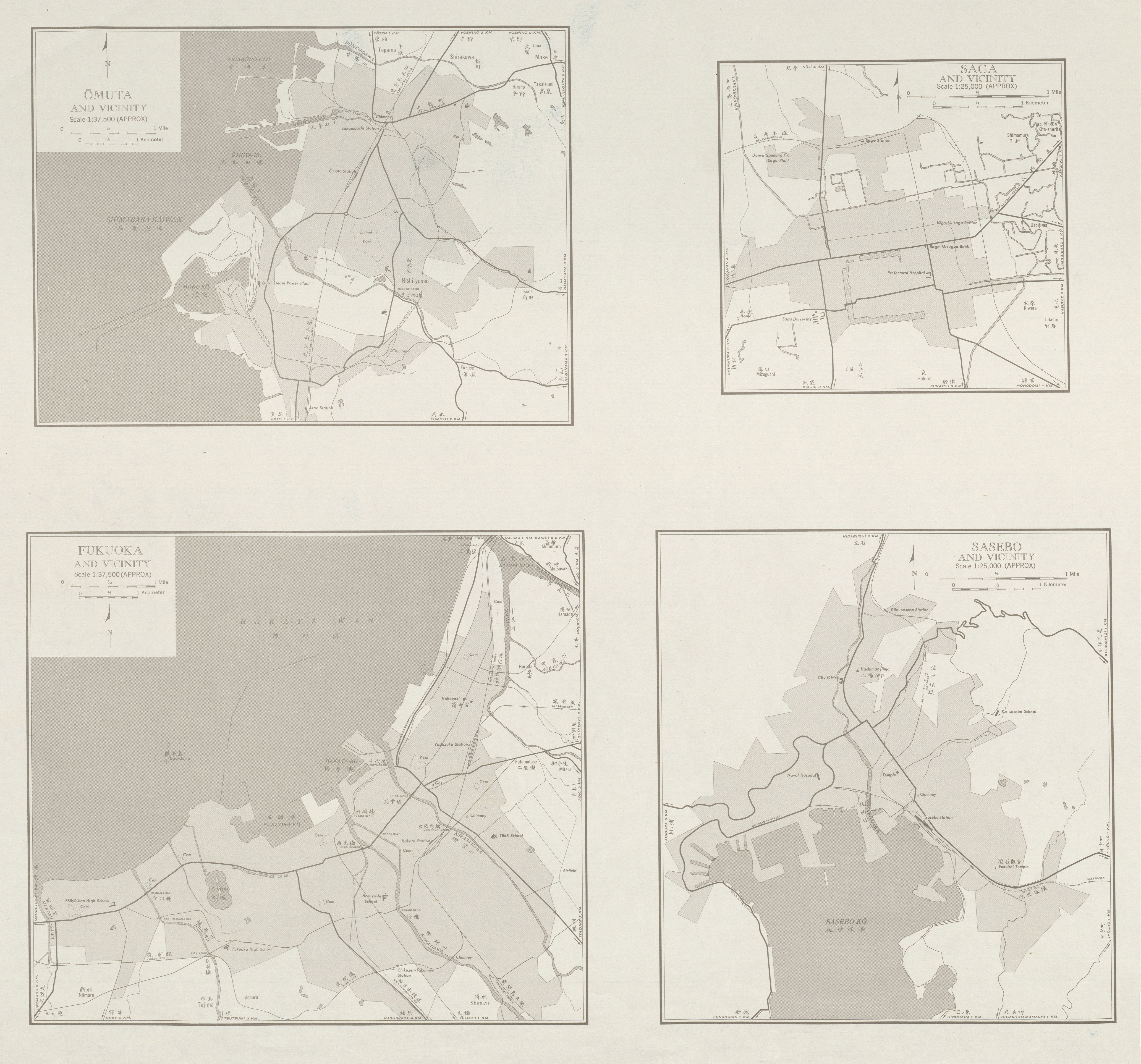 Mapas de Omuta, Saga, Fukuoka y sus Cercanias Hoja, Japón 1954