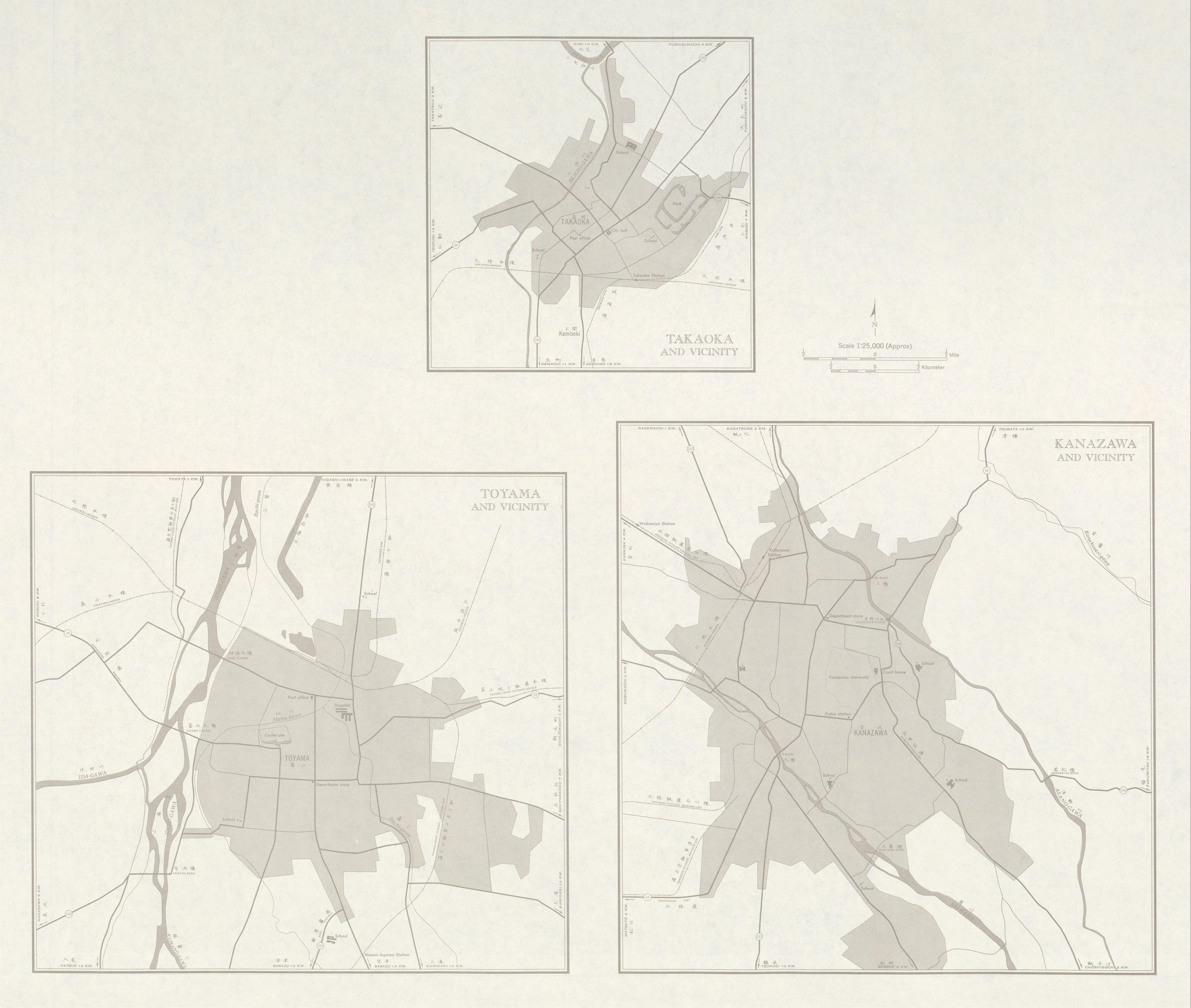 Mapas de Takaoka, Toyama, Kanazawa y sus Cercanias, Japón 1954