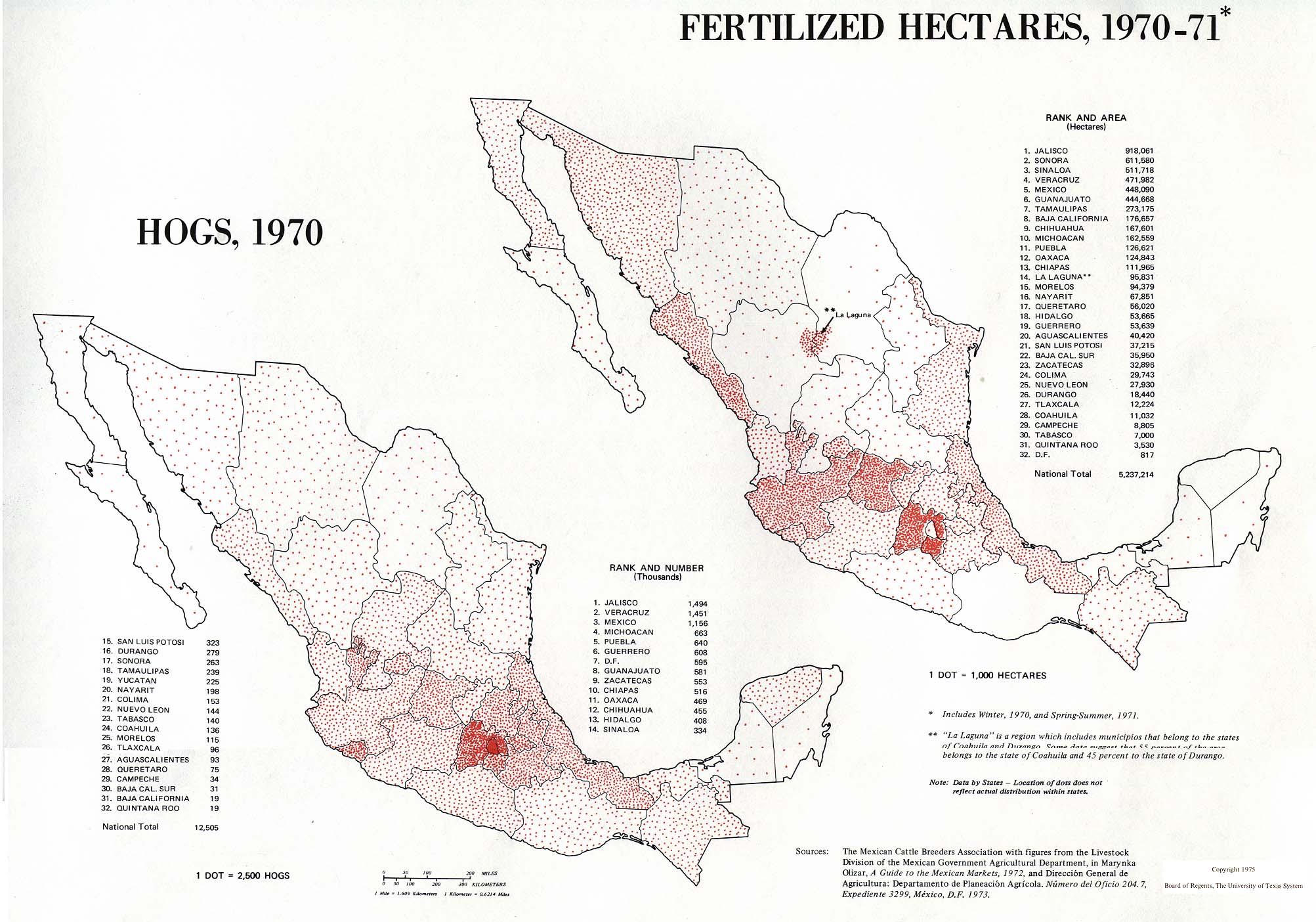 Mapas de la Producción de Cerdos y de Hectáreas Fertilizadas, México 1970 - 1971
