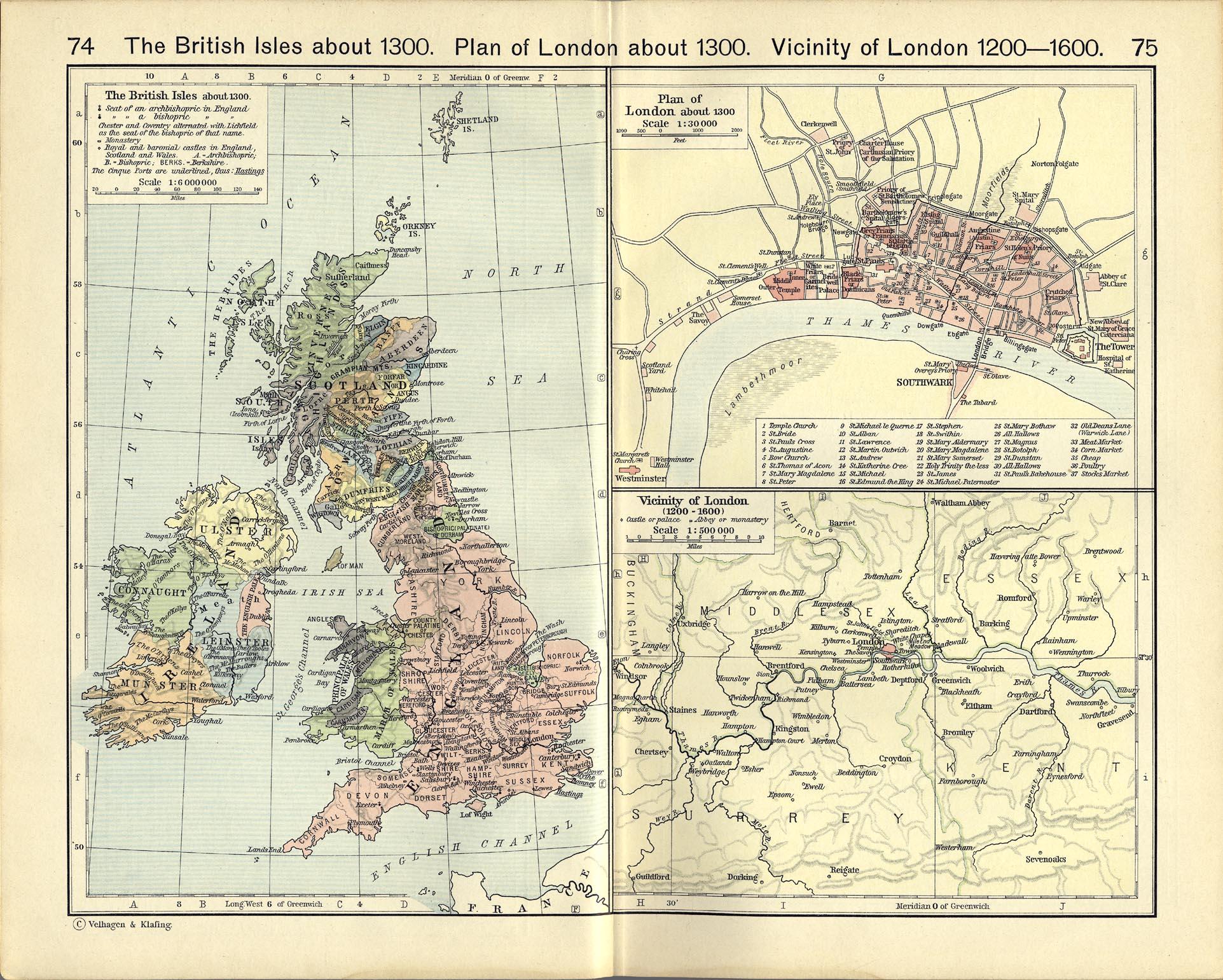 Mapas de las Islas Británicas y Londres Circa 1300