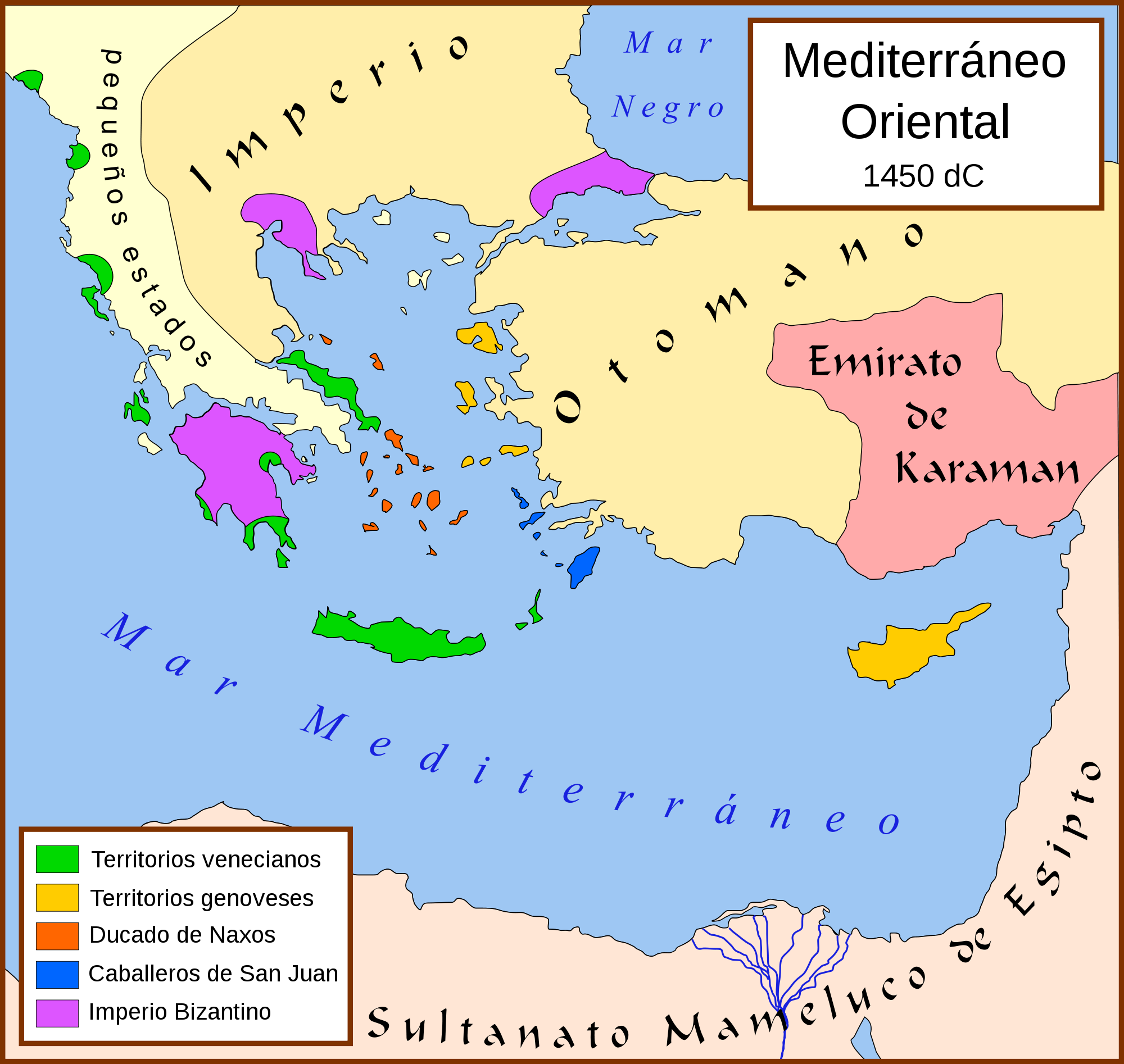 Mediterráneo Oriental, 1450 d.C.
