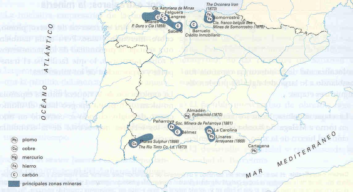 Minas de España a finales del siglo XIX