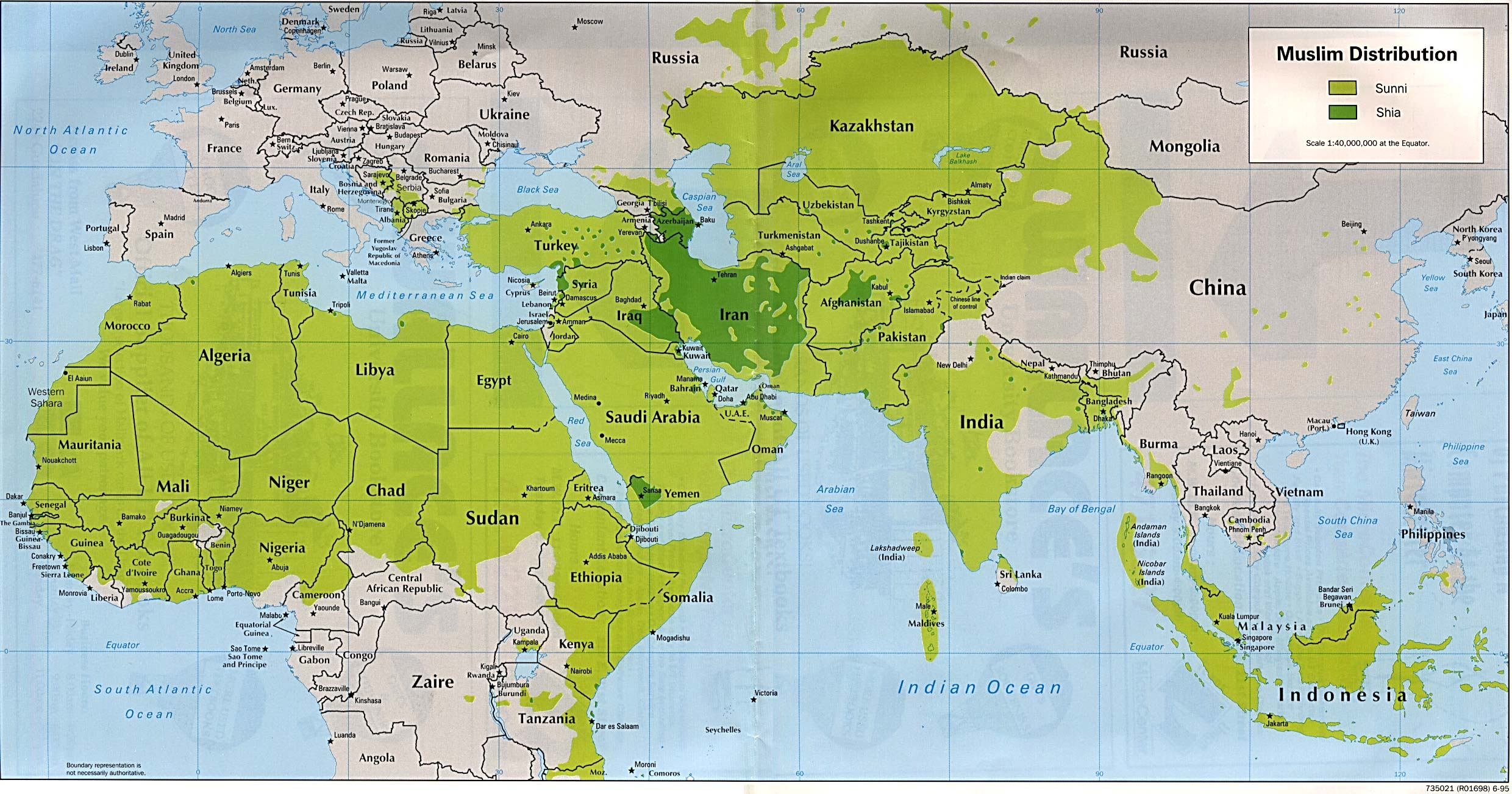 Sunni and Shi'ite Muslims in the World 1995