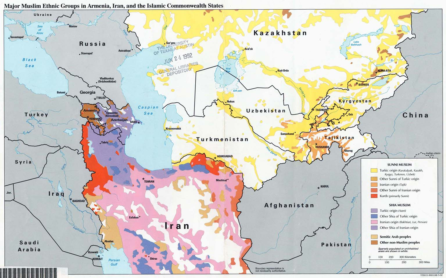 Map of Major Muslim Ethnic Groups in Armenia, Iran, Turkmenistan, Uzbekistan, Tajikistan, Kyrgyzstan
