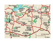 Navajo Monumento Nacional Mapa de la Región de, Arizona, Estados Unidos