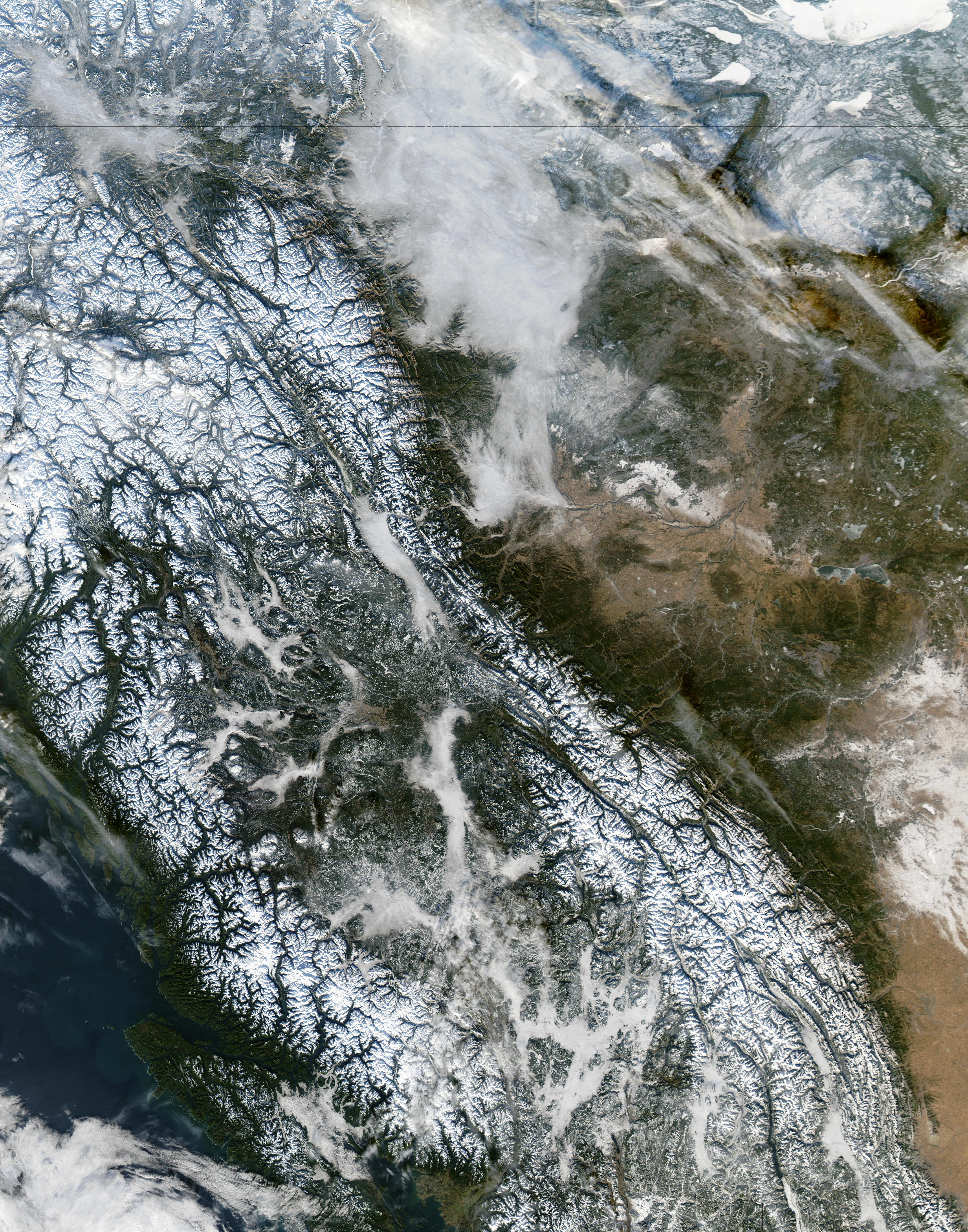 Niebla y nieve en Columbia Británica, Canadá