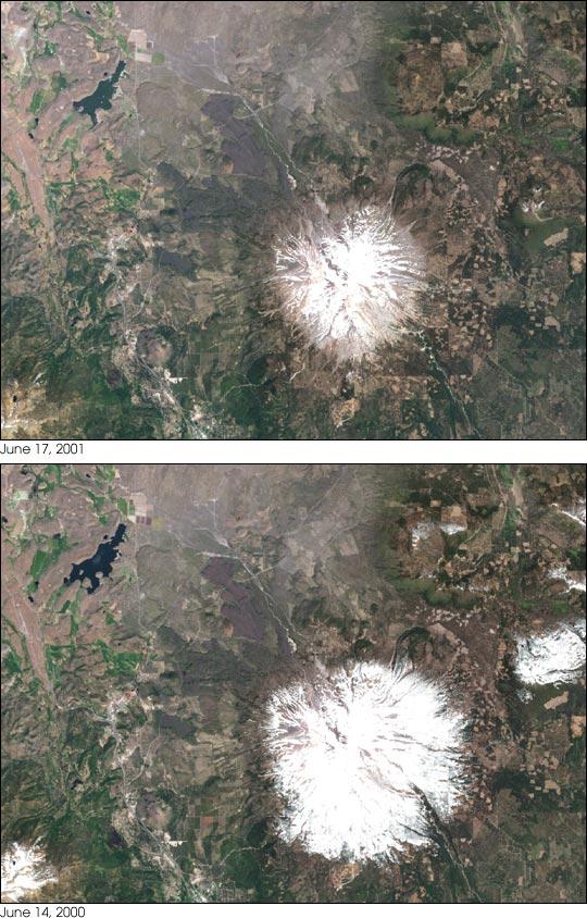 Nieve acumulada en el Monte Shasta