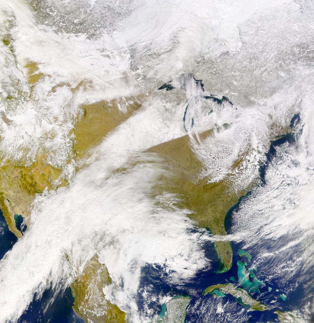 Nieve del efecto lago y faja de nieve del Medio Oeste de Estados Unidos