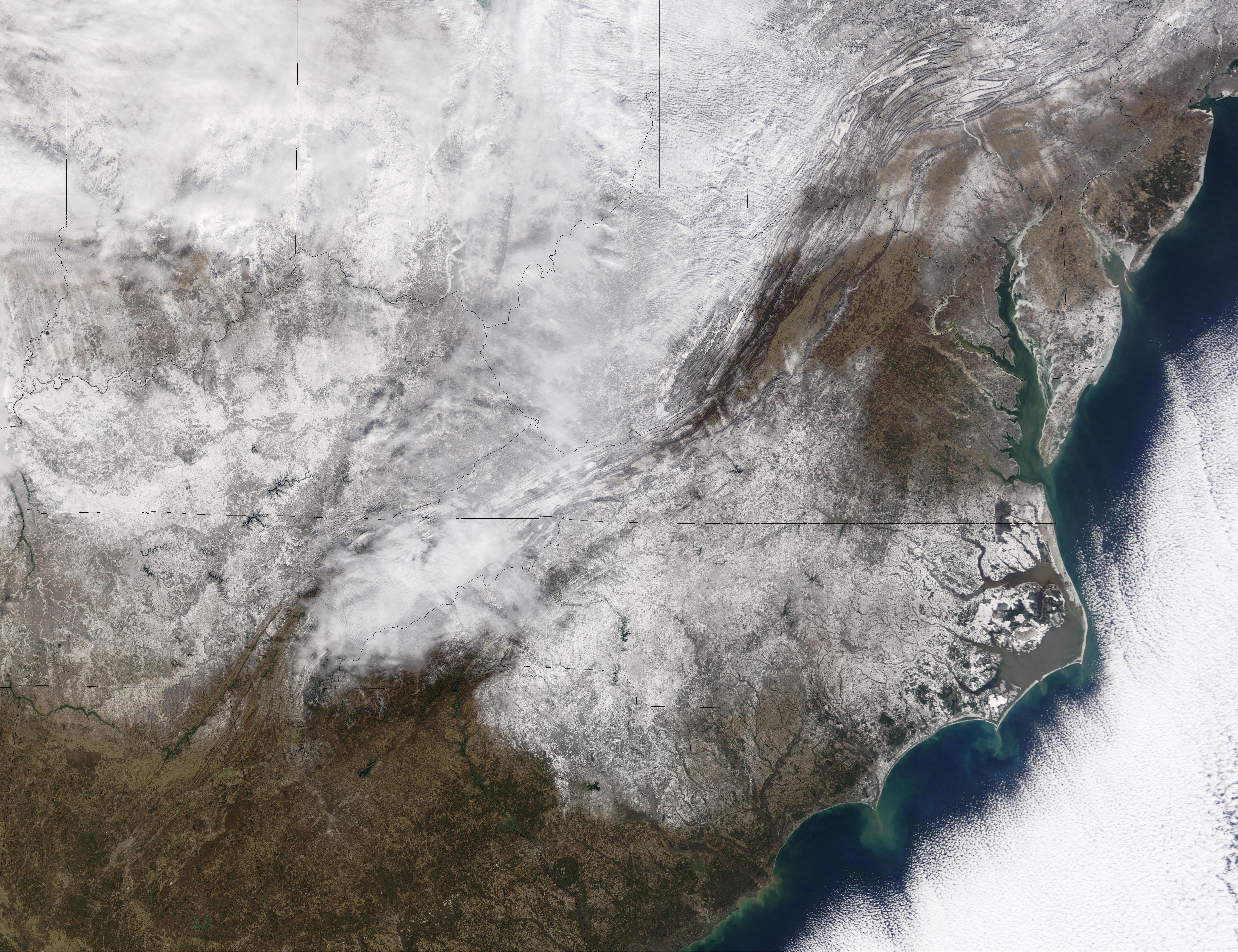 Nieve en los Estados Unidos oriental