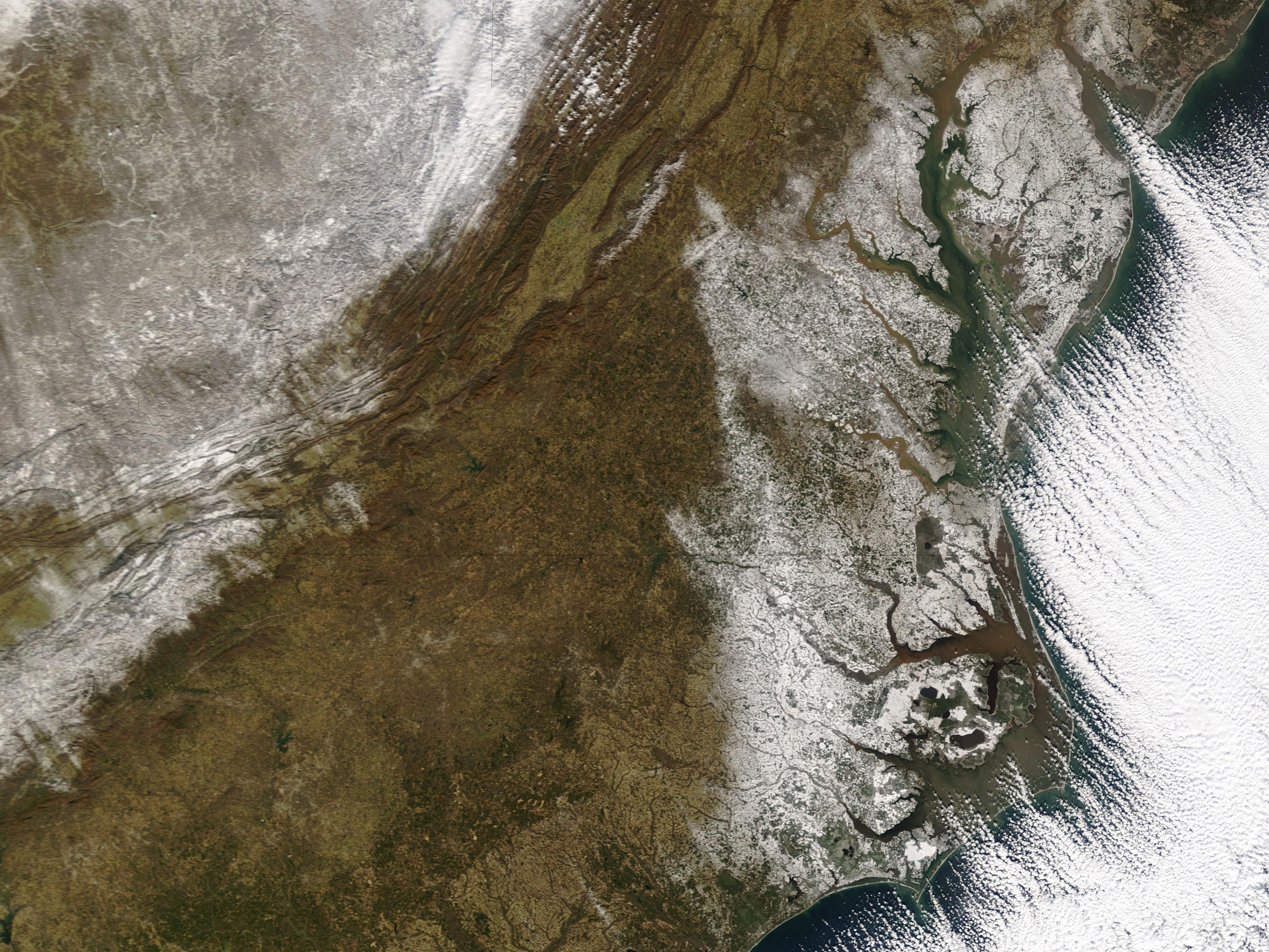 Nieve en los estados del Mid-Atlantic