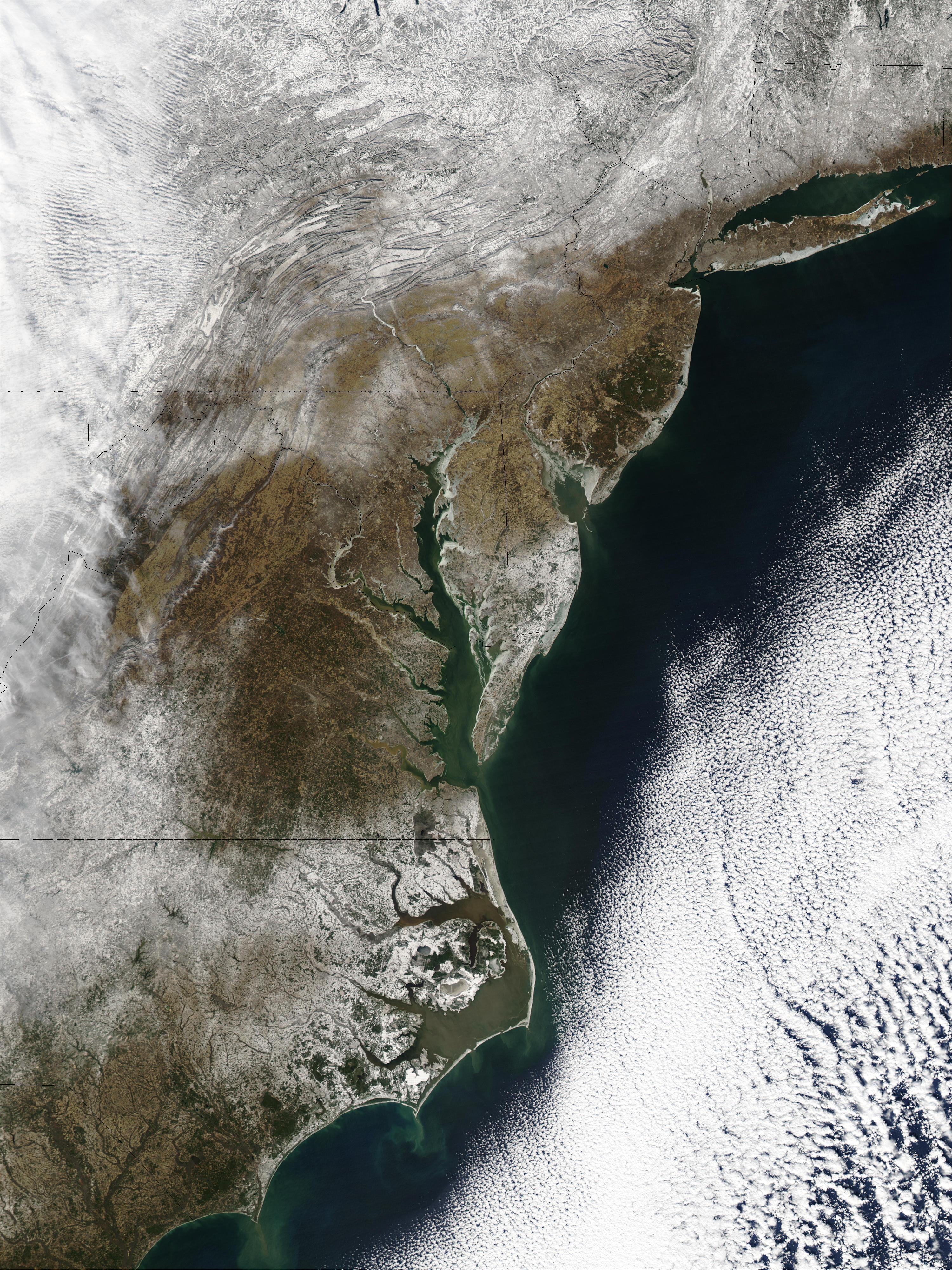 Nieve en los estados del Mid-Atlantic, Estados Unidos