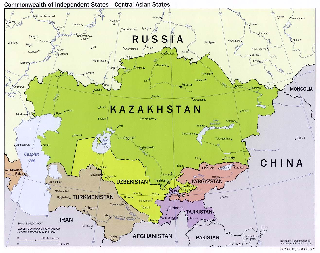 Países de la Comunidad de Estados Independientes en Asia Central 2002