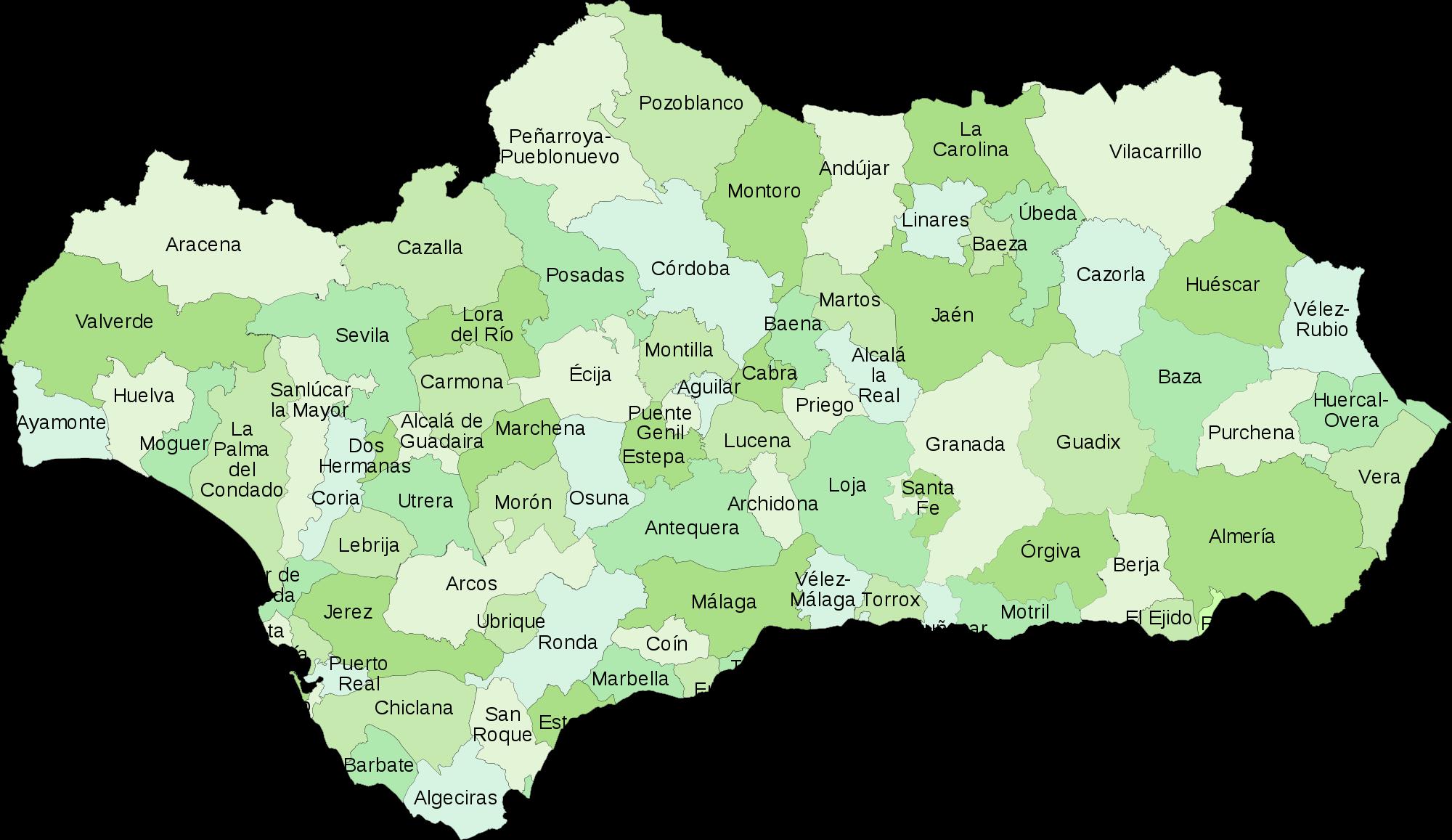 Partidos judiciales de Andalucía 2008