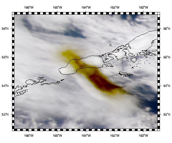 Penacho de erupción del volcán Shishaldin en la Isla Unimak