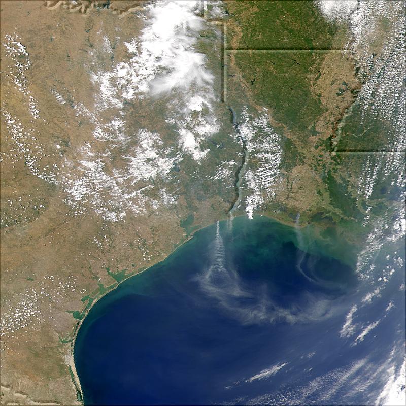 Penacho de humo proveniente de Texas, Luisiana