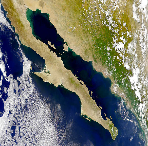 Satellite Image, Photo of Baja California North and South, Mexico