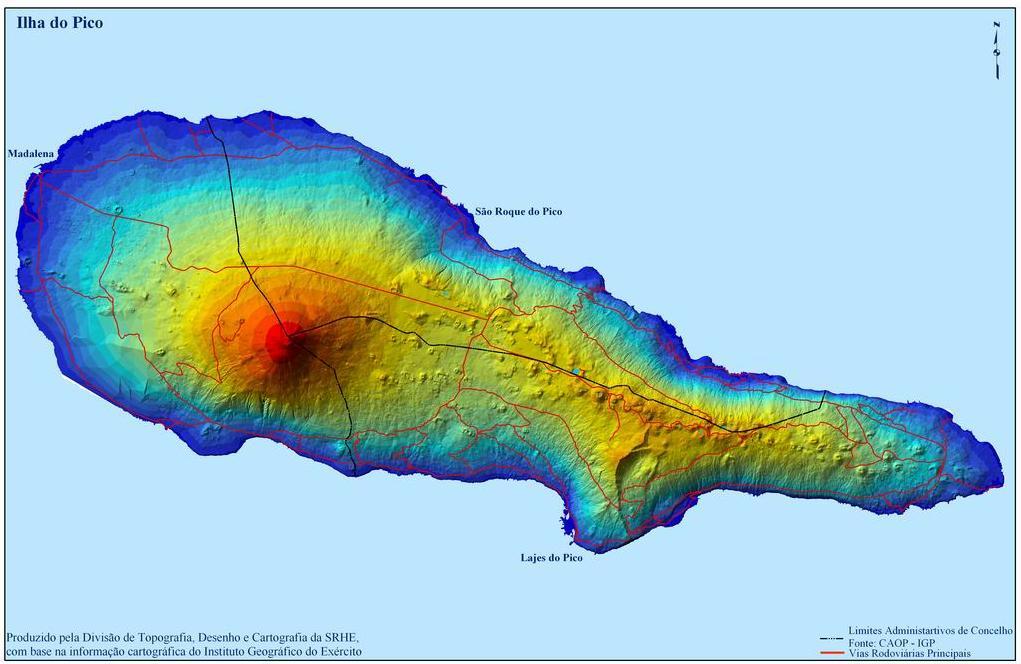 Pico Island Map, Portugal
