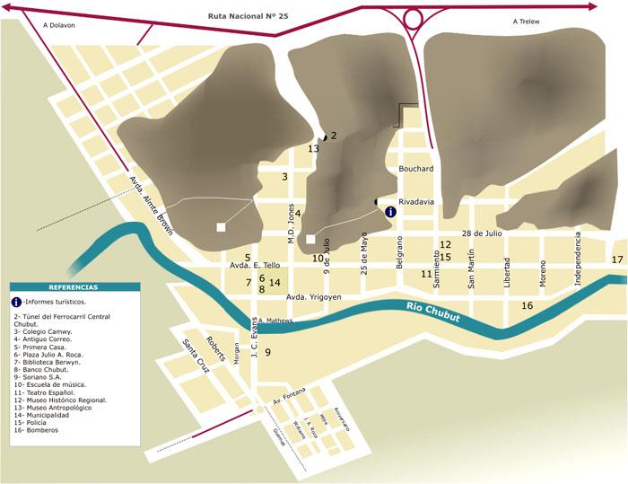 Gaiman Urban Map, Chubut Prov., Argentina