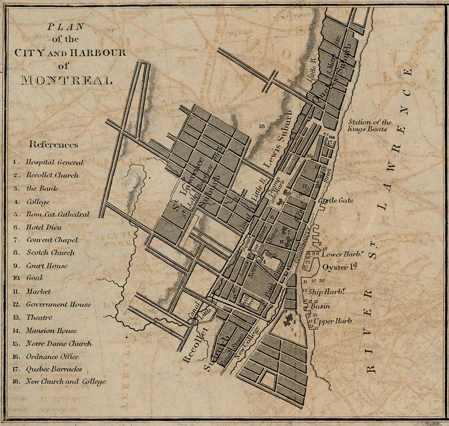 Plan of the City and Harbour of Montreal, Quebec, Canada 1882