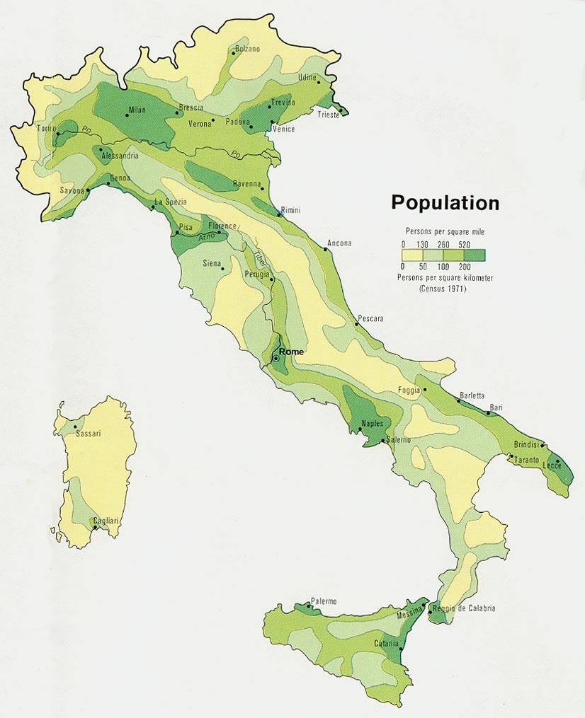 Población de Italia 1972