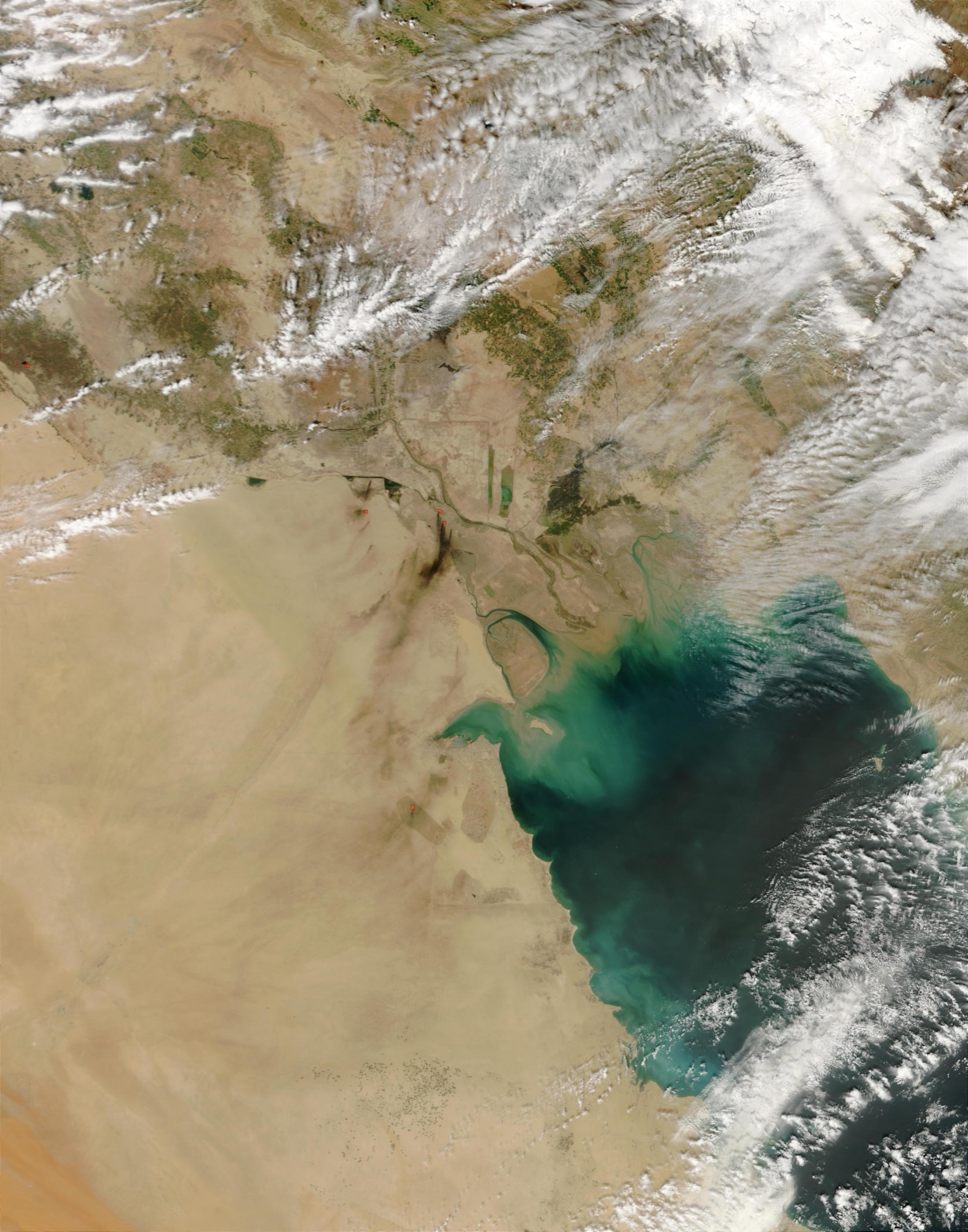 Pozos petroleros quemando en Iraq meridional (seguimiento satelital de la mañana)