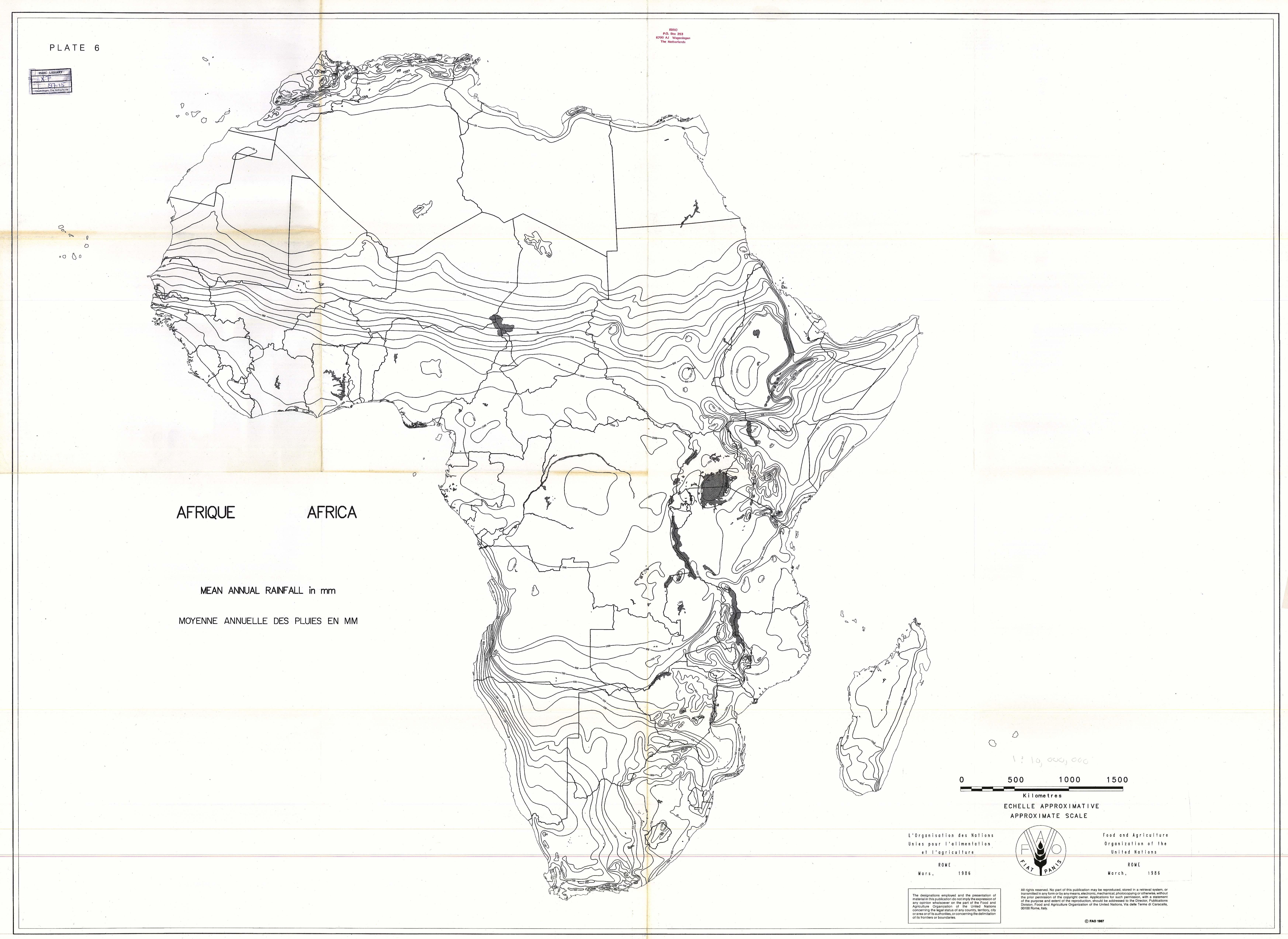 Precipitación media anual en mm en África 1987