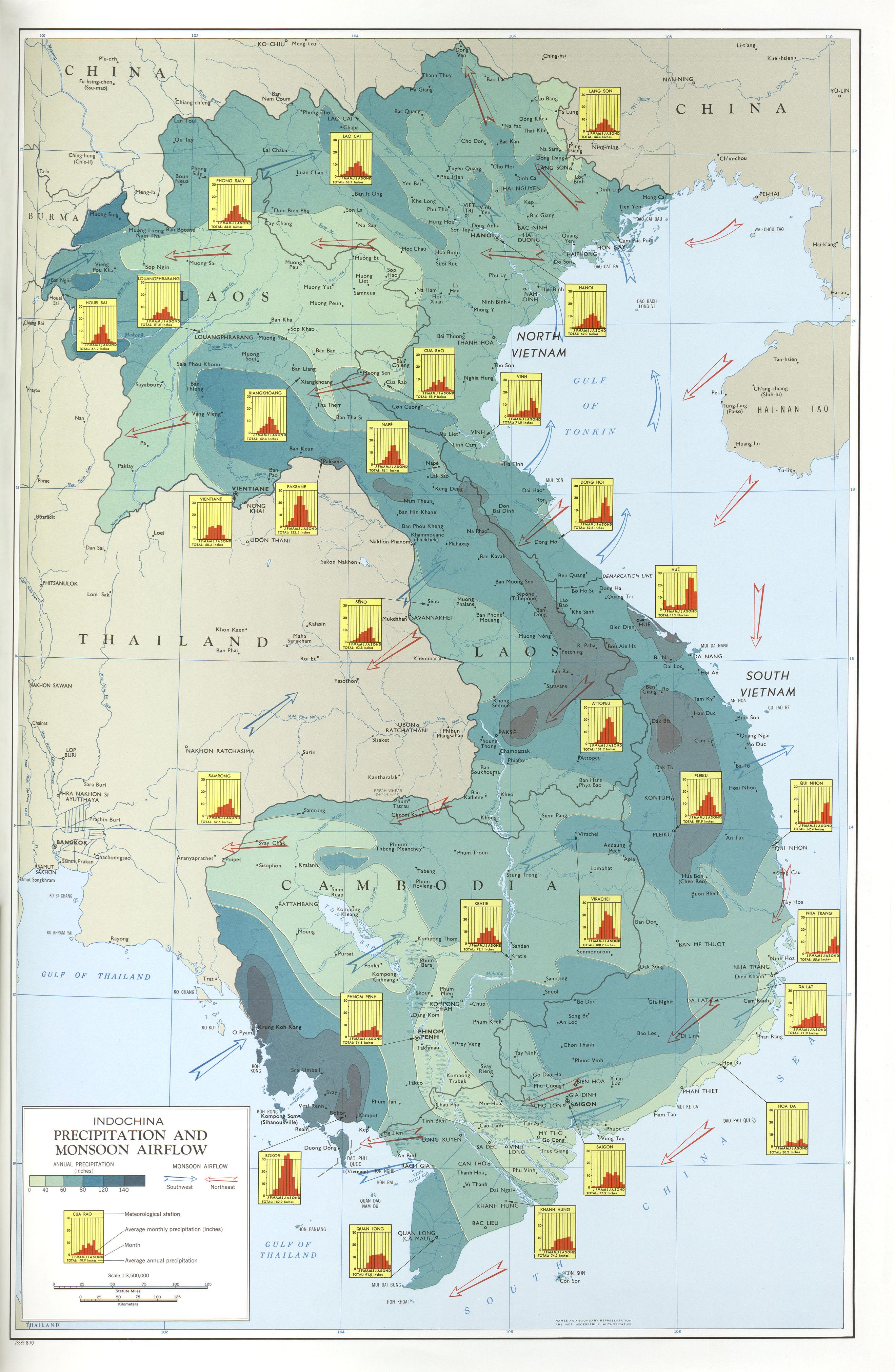 Precipitaciones y Vientos del Monzón en Indochina