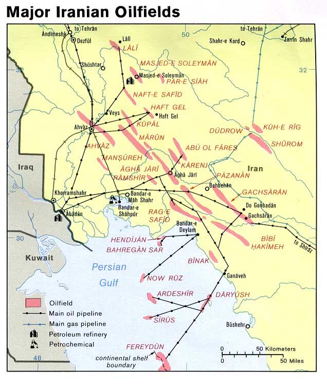 Principales Campos Petroleros de Irán 1978