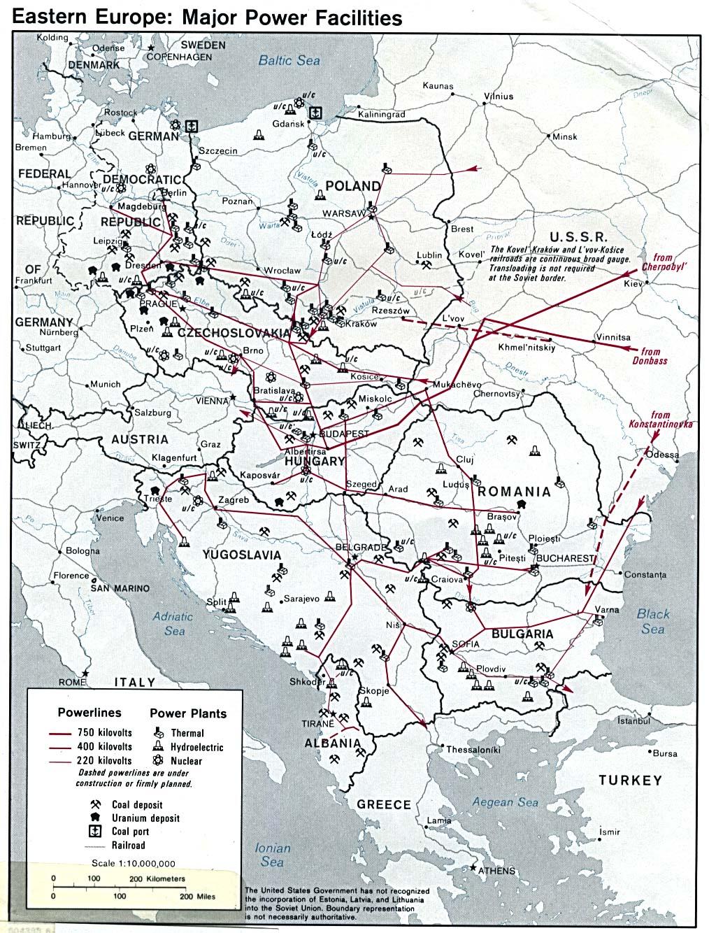 Principales Instalaciones Eléctricas de Europa Oriental 1980