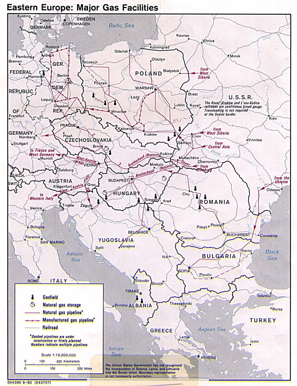 Eastern Europe major gas facilities 1980