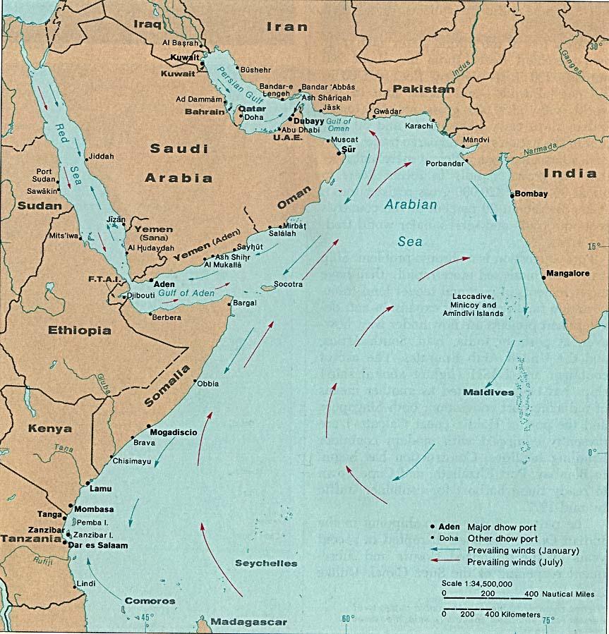 Principales Puertos Dhow en el Océano Índico